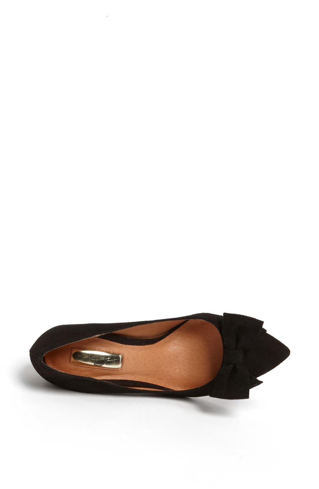 HALOGEN<SUP>®</SUP>,                             'Marla' Suede Bow Pointy Toe Pump,                             Alternate thumbnail 4, color,                             019