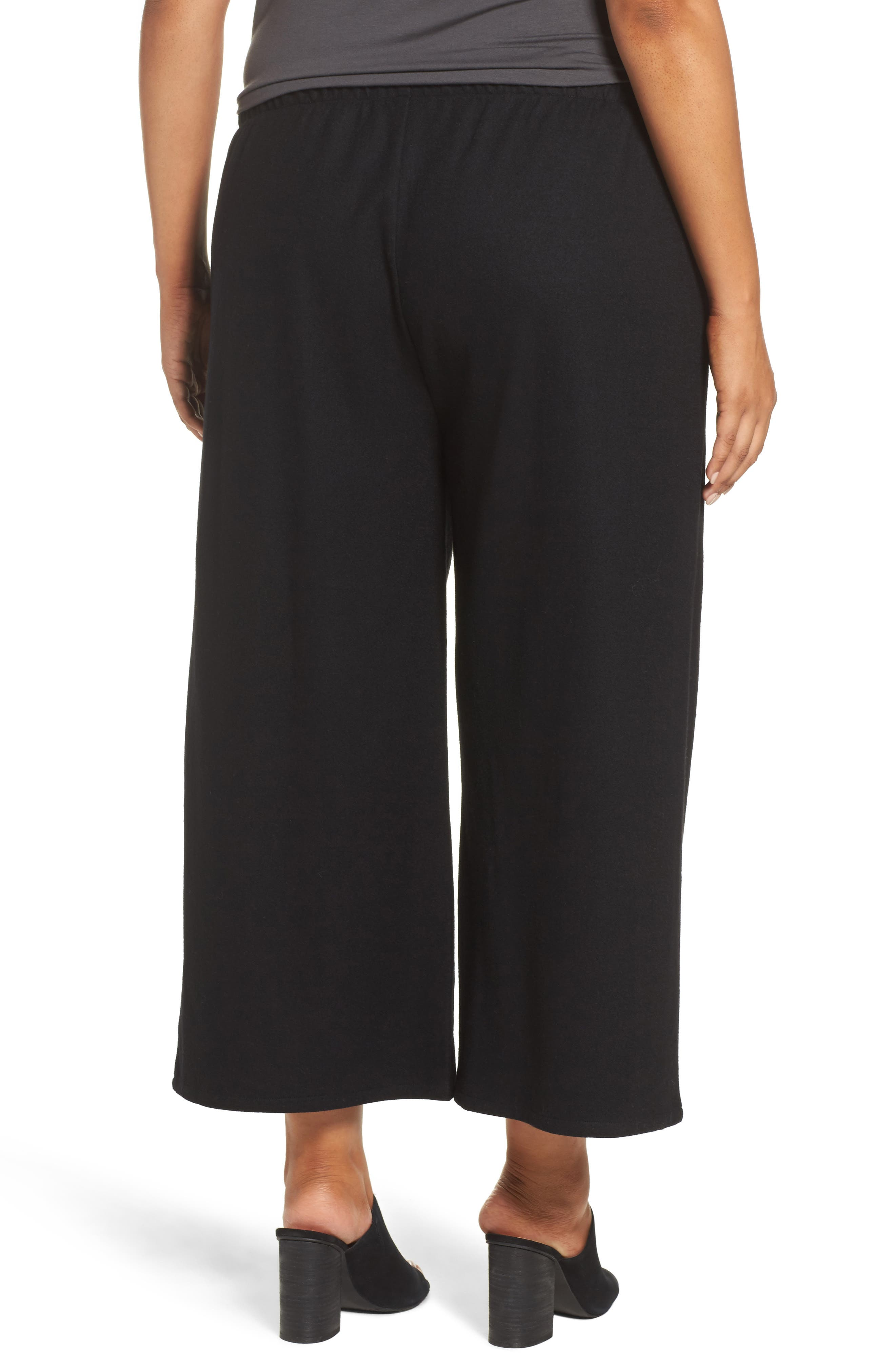 Wide Leg Drawstring Wool Pants,                             Alternate thumbnail 2, color,                             001