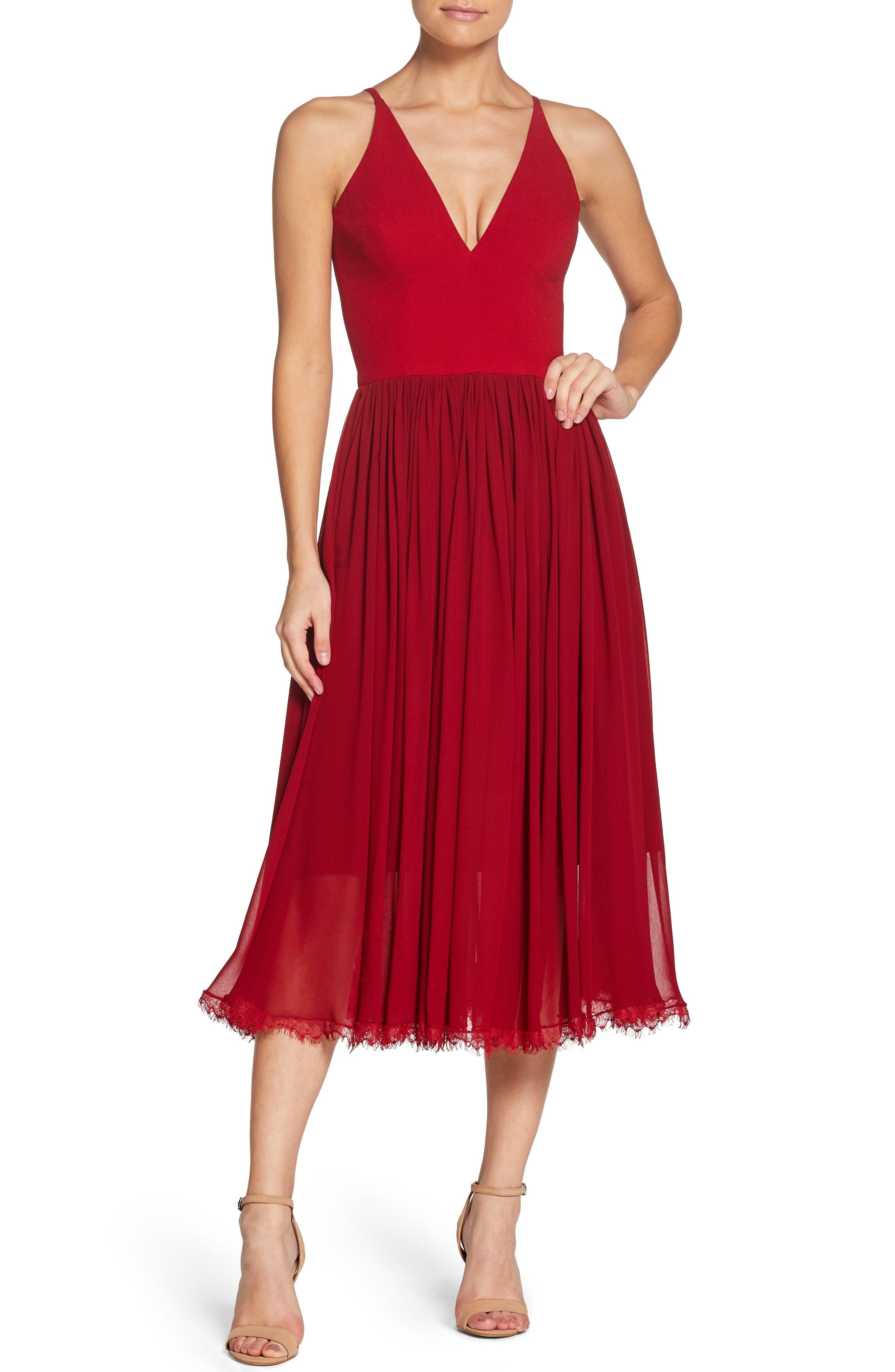 70s Dresses – Disco Dresses, Hippie Dresses, Wrap Dresses Womens Dress The Population Alicia Mixed Media Midi Dress Size Small - Red $198.00 AT vintagedancer.com
