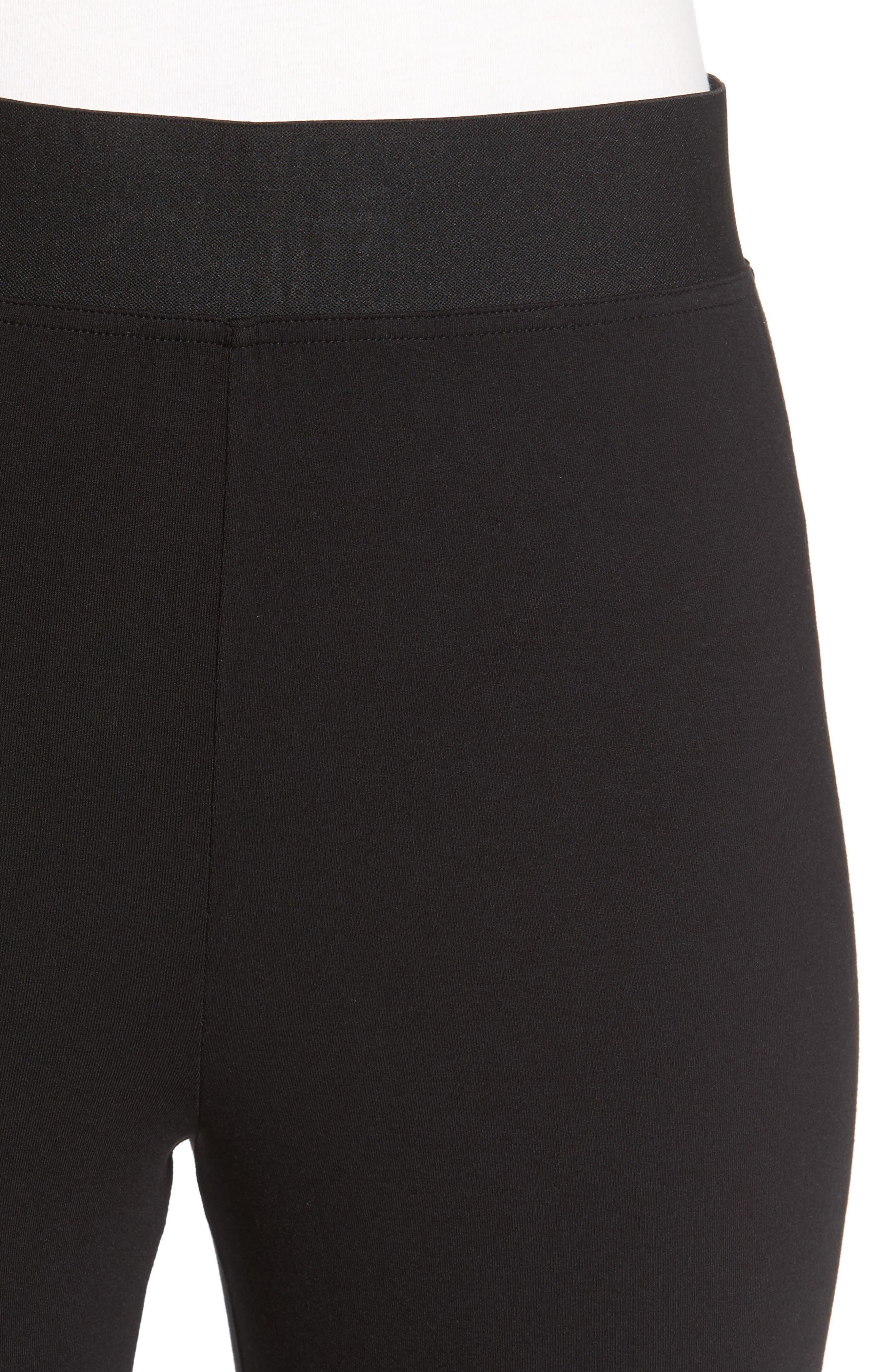 Grommet Detail Skinny Knit Pants,                             Alternate thumbnail 4, color,                             001