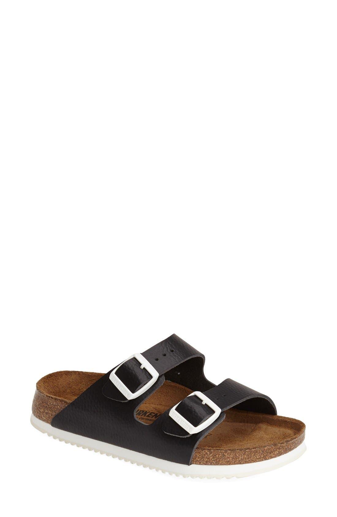 BIRKENSTOCK,                             'Arizona' Leather Double Band Footbed Sandal,                             Main thumbnail 1, color,                             001