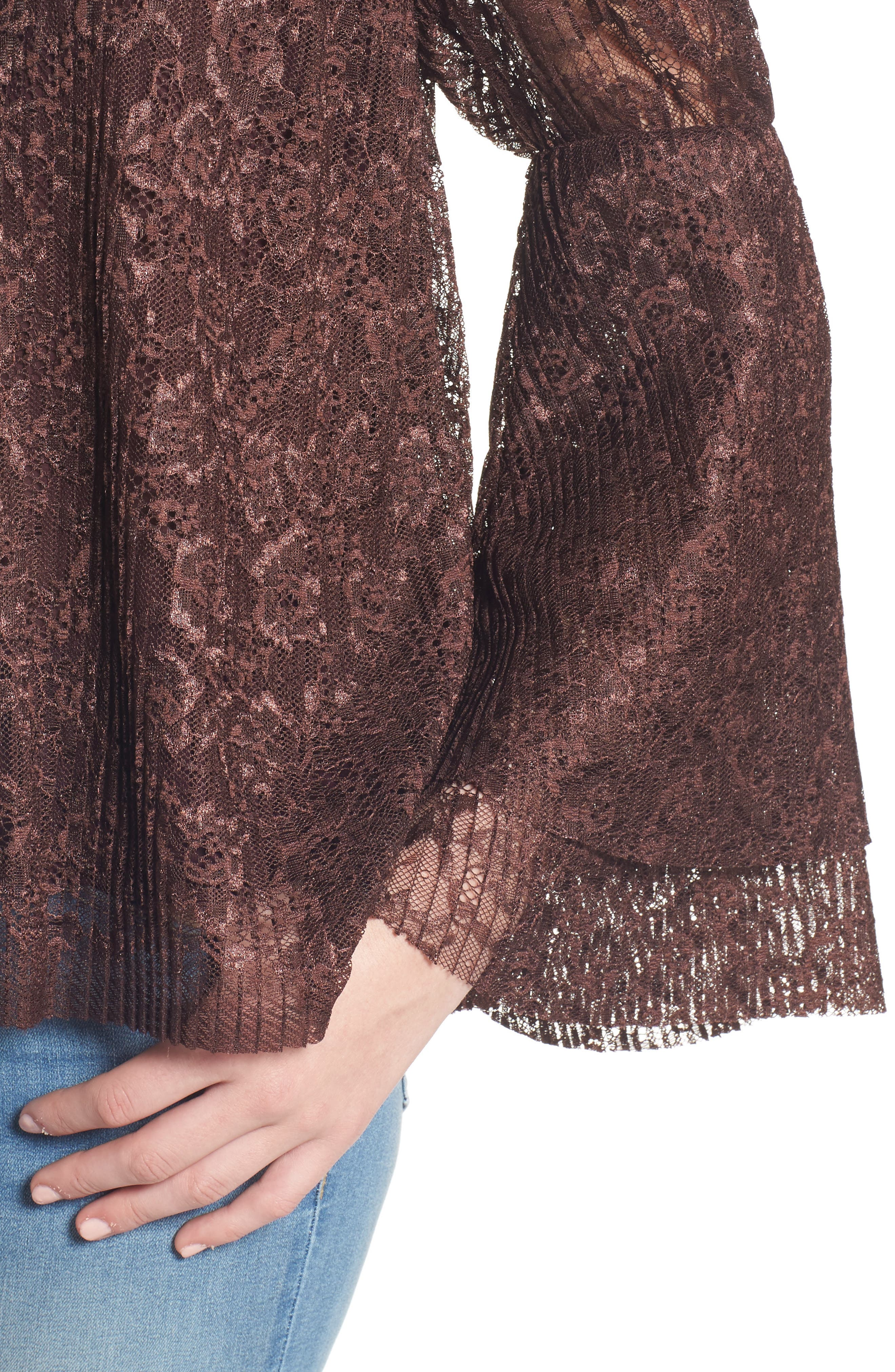 Lace Bell Sleeve Top,                             Alternate thumbnail 4, color,                             937