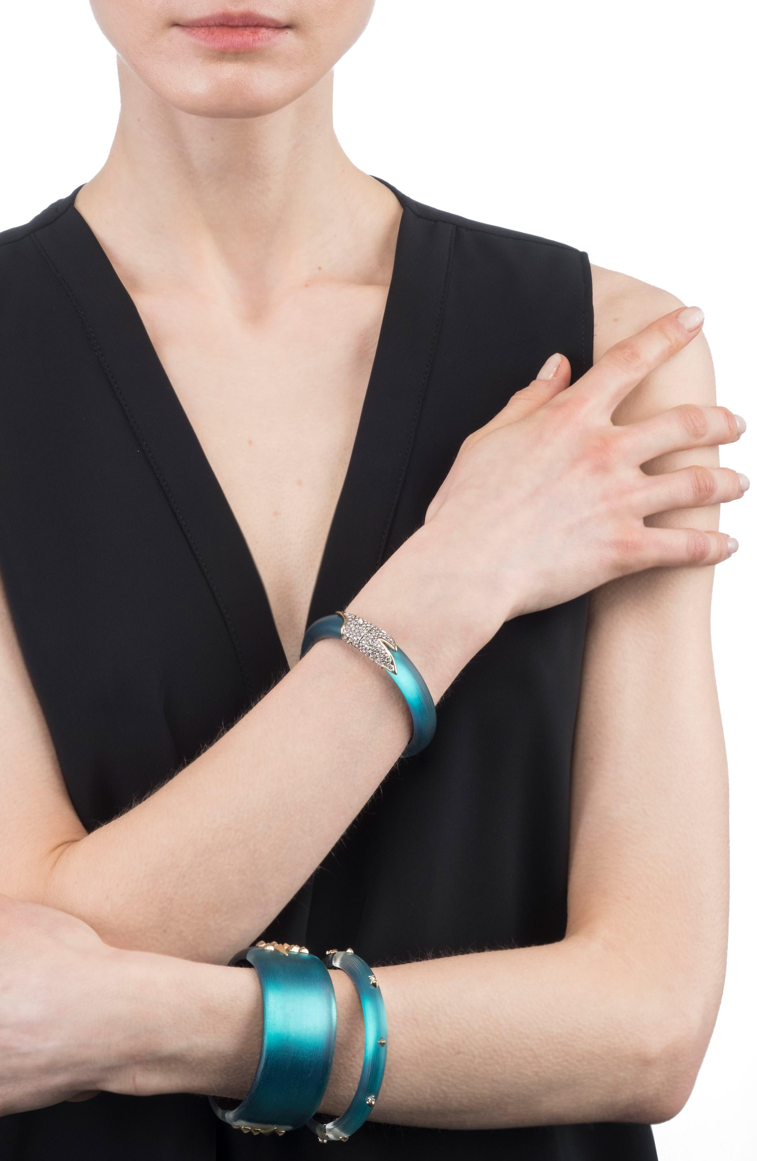 Crystal Encrusted Feather Hinge Bracelet,                             Alternate thumbnail 2, color,                             400