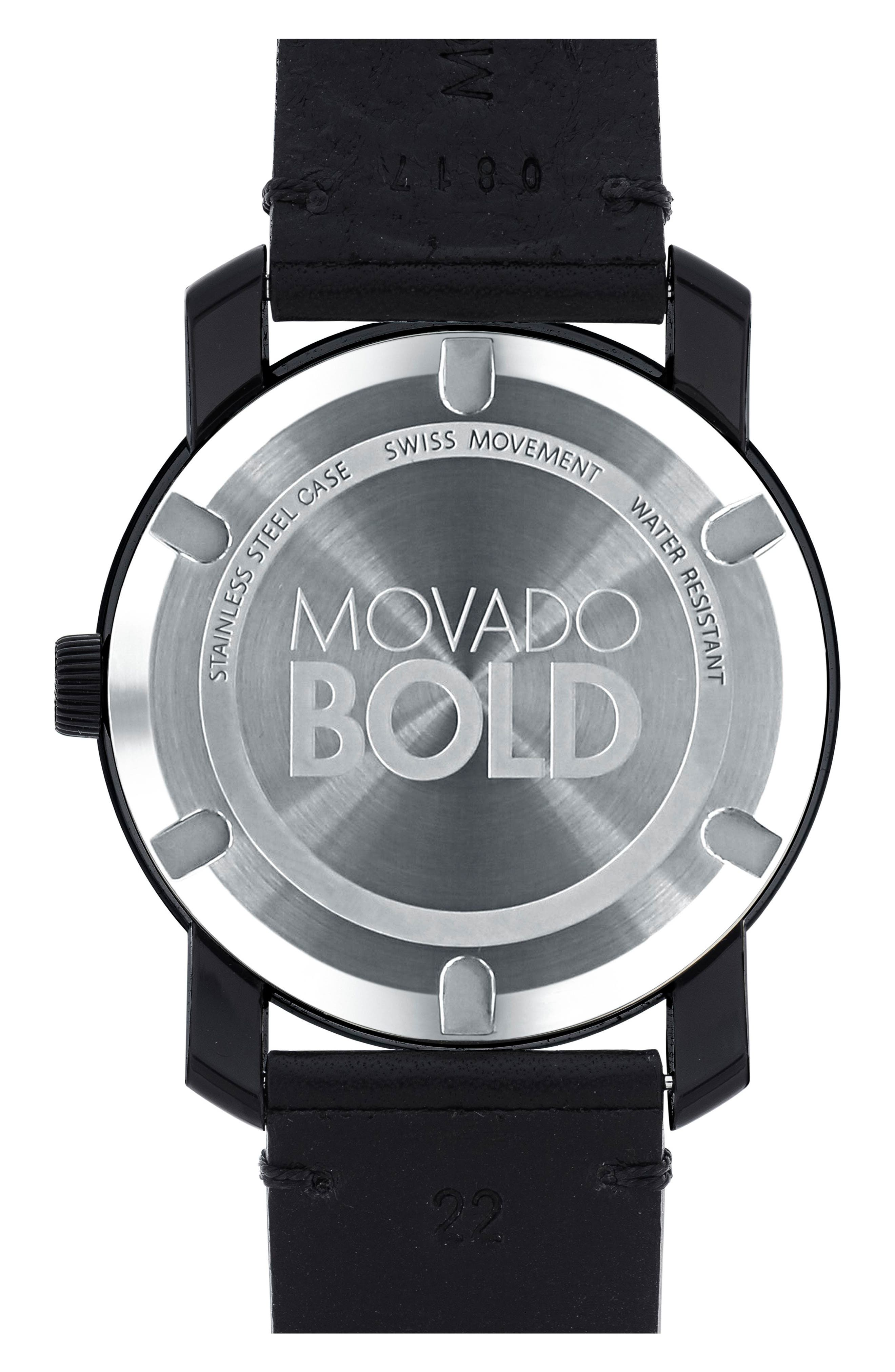 'Bold' Leather Strap Watch, 42mm,                             Alternate thumbnail 2, color,                             GREY/ BLACK