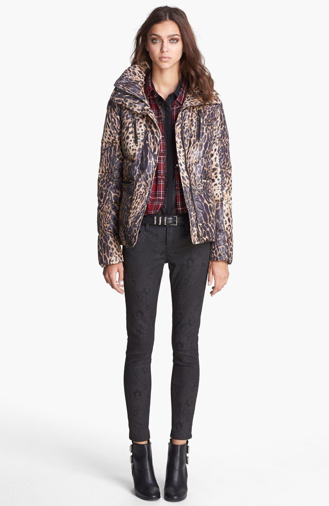Leopard Print Puffer Jacket,                             Alternate thumbnail 4, color,                             250