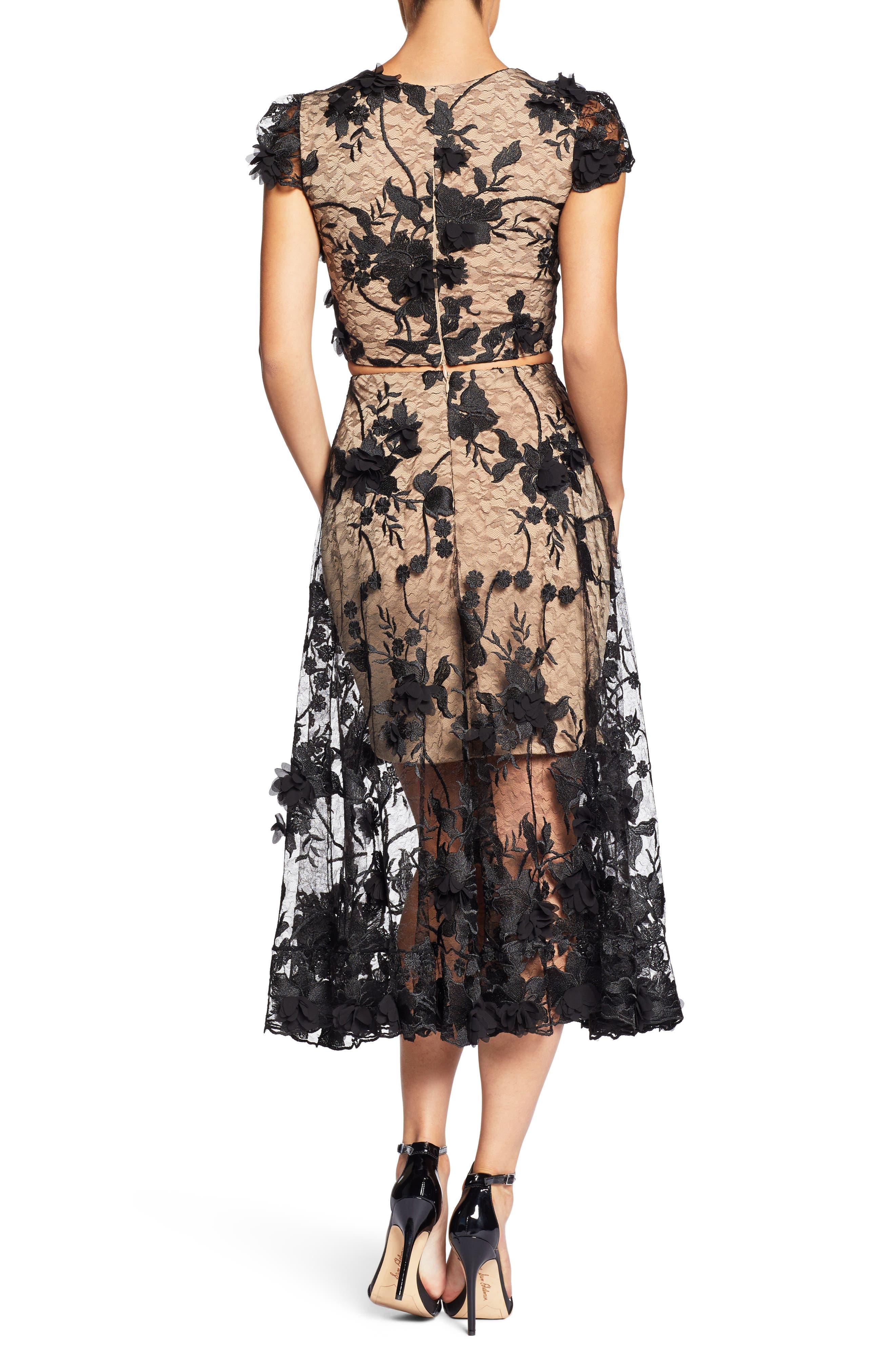 Juliana 3D Lace Two-Piece Dress,                             Alternate thumbnail 2, color,                             014