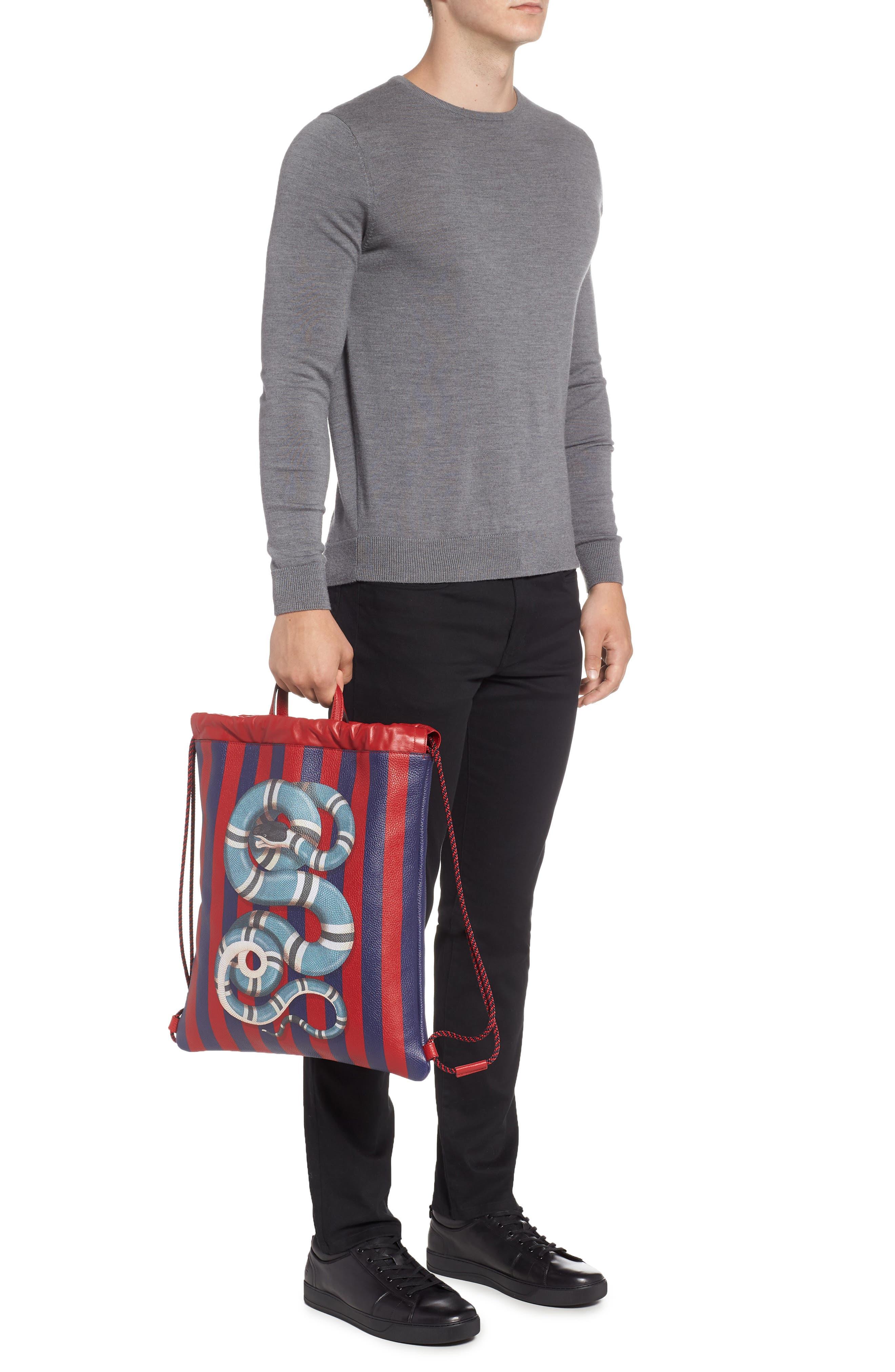 Kingsnake Stripe Leather Drawstring Backpack,                             Alternate thumbnail 2, color,                             RED