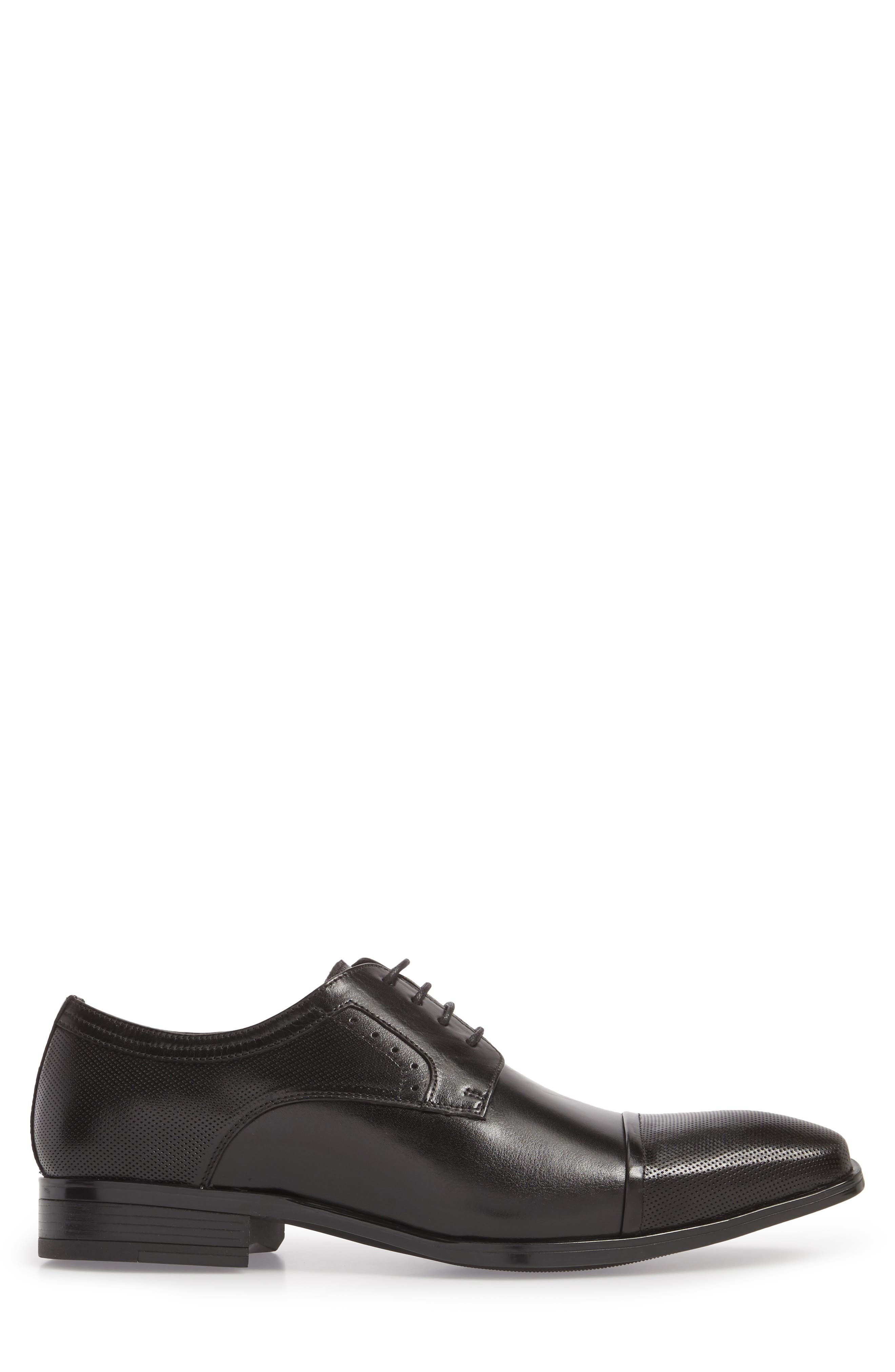 Embossed Cap Toe Derby,                             Alternate thumbnail 3, color,                             BLACK LEATHER