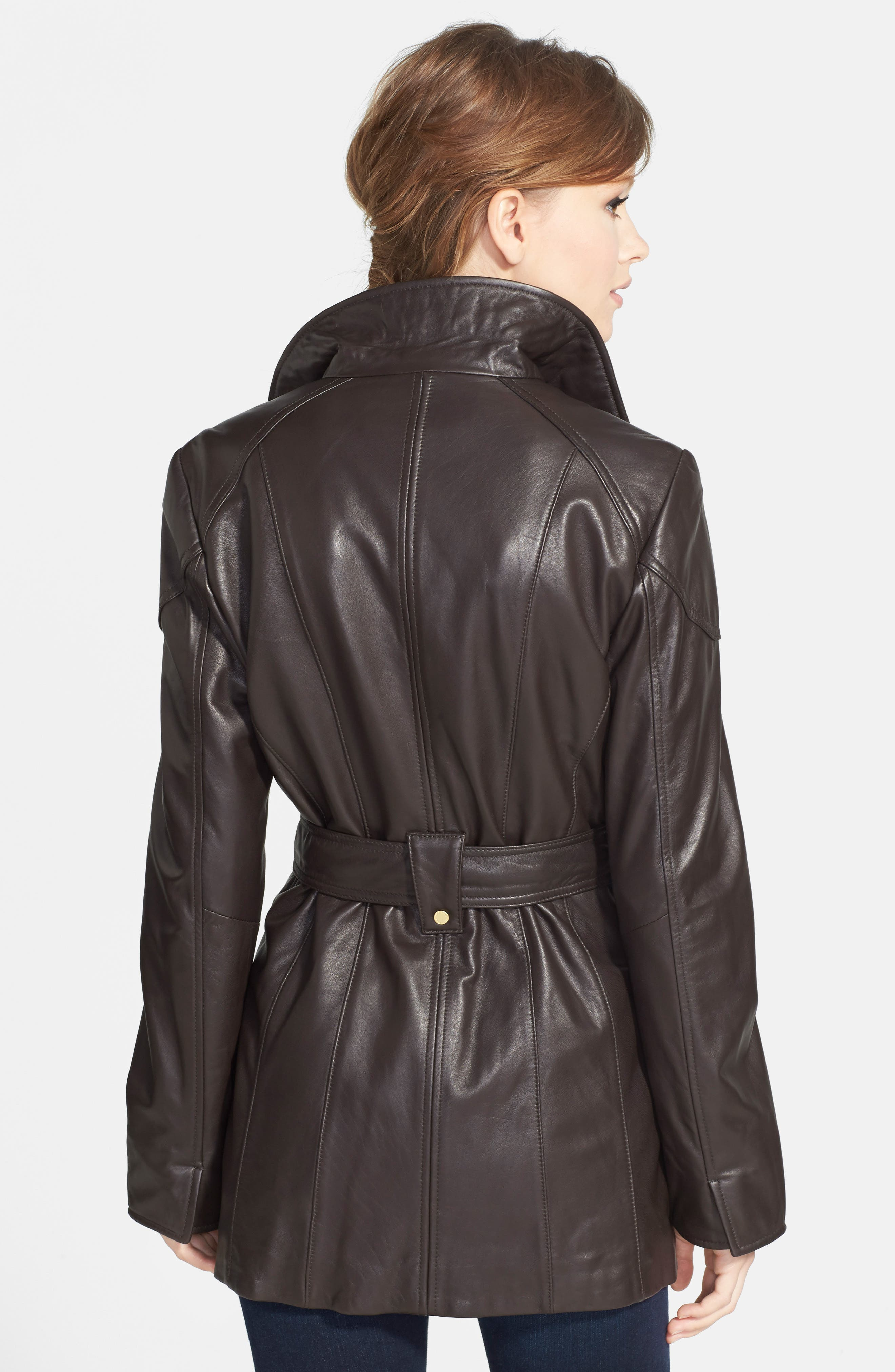 Leather Trench Jacket,                             Alternate thumbnail 4, color,