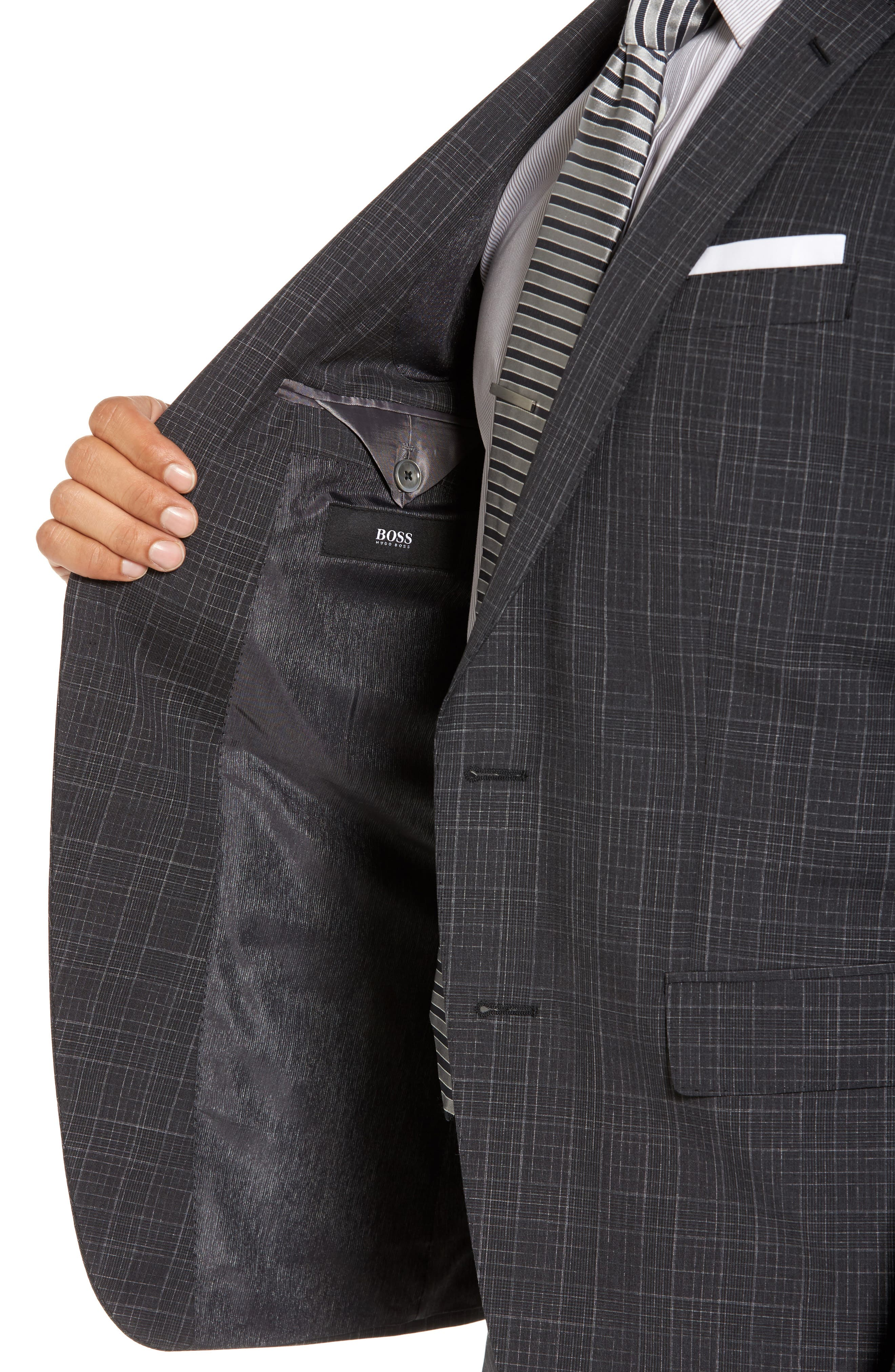 Hutson/Gander Trim Fit Plaid Wool Suit,                             Alternate thumbnail 4, color,                             061