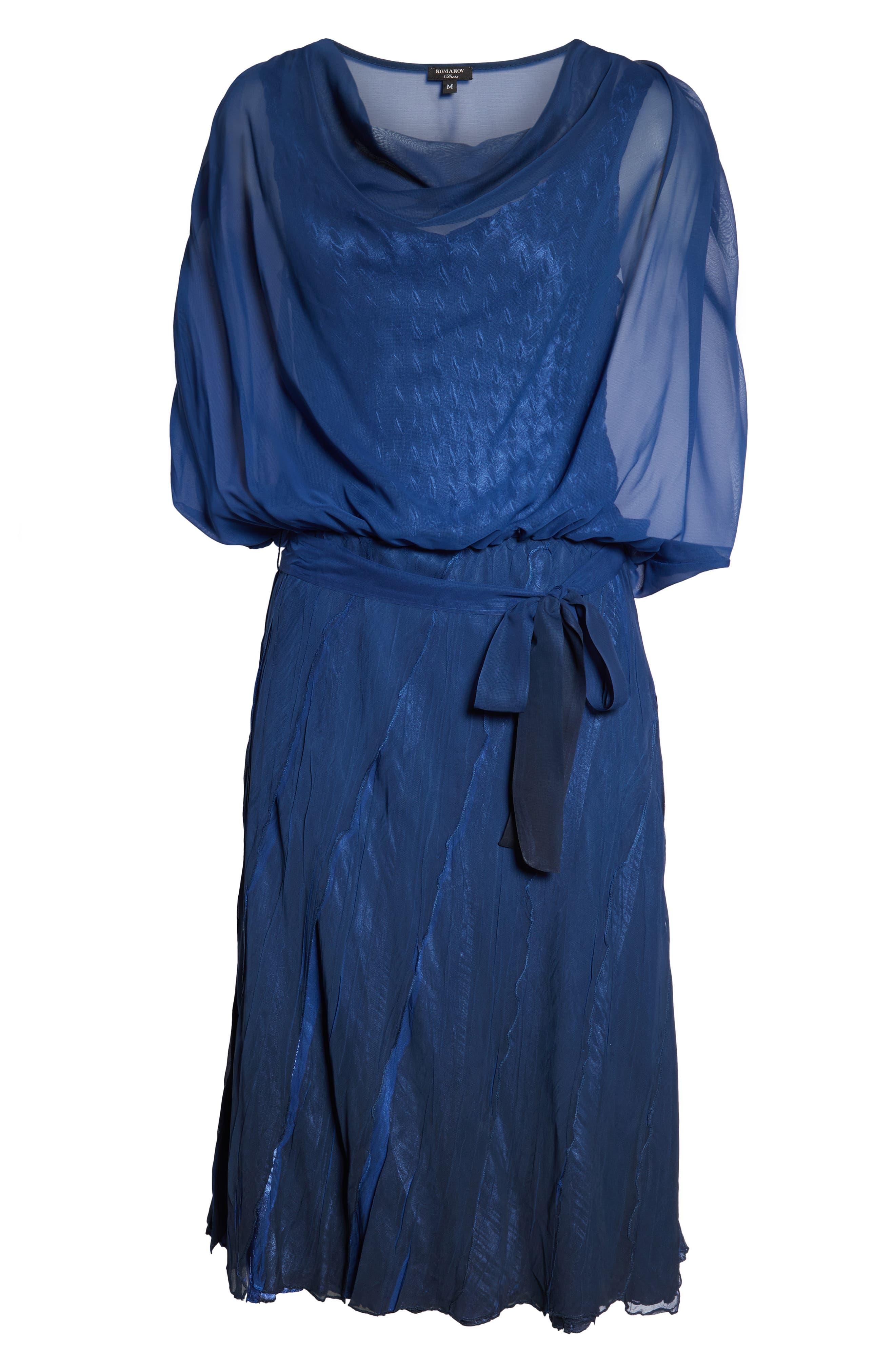 Blouson Tiered Dress,                             Alternate thumbnail 4, color,                             NAVY BLACK OMBRE