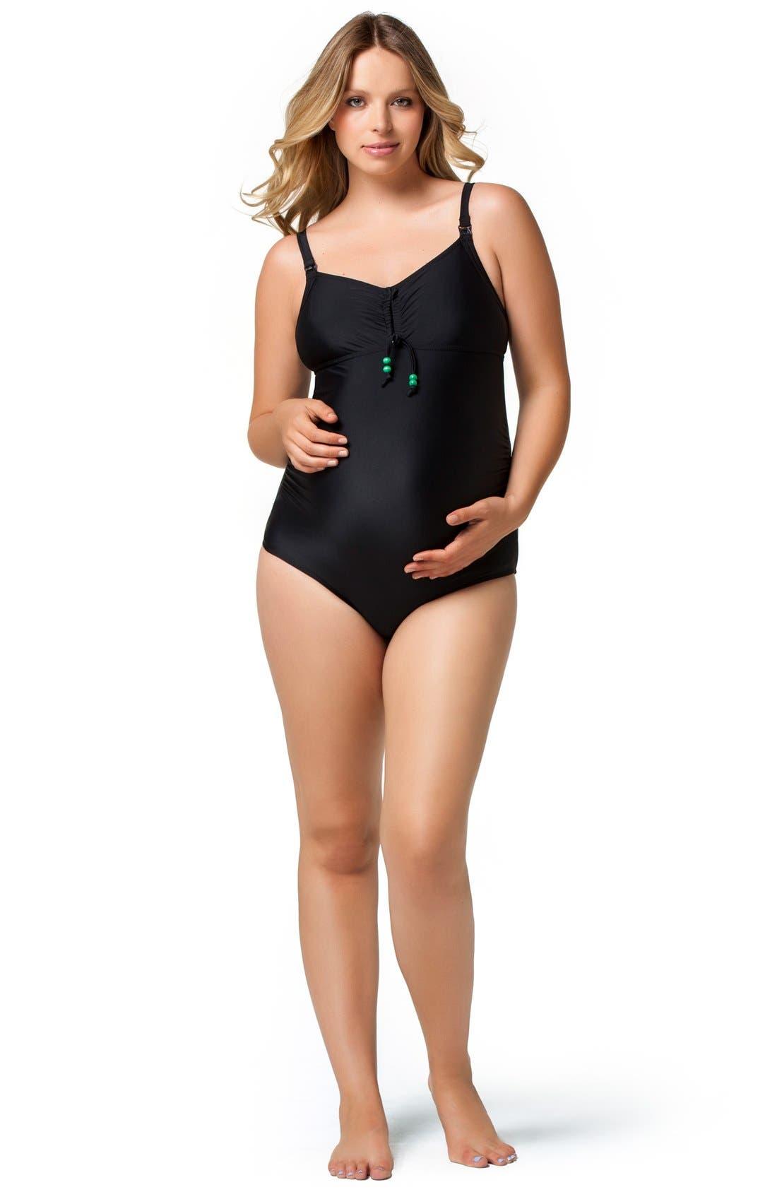 One-Piece Maternity/Nursing Swimsuit,                             Alternate thumbnail 3, color,