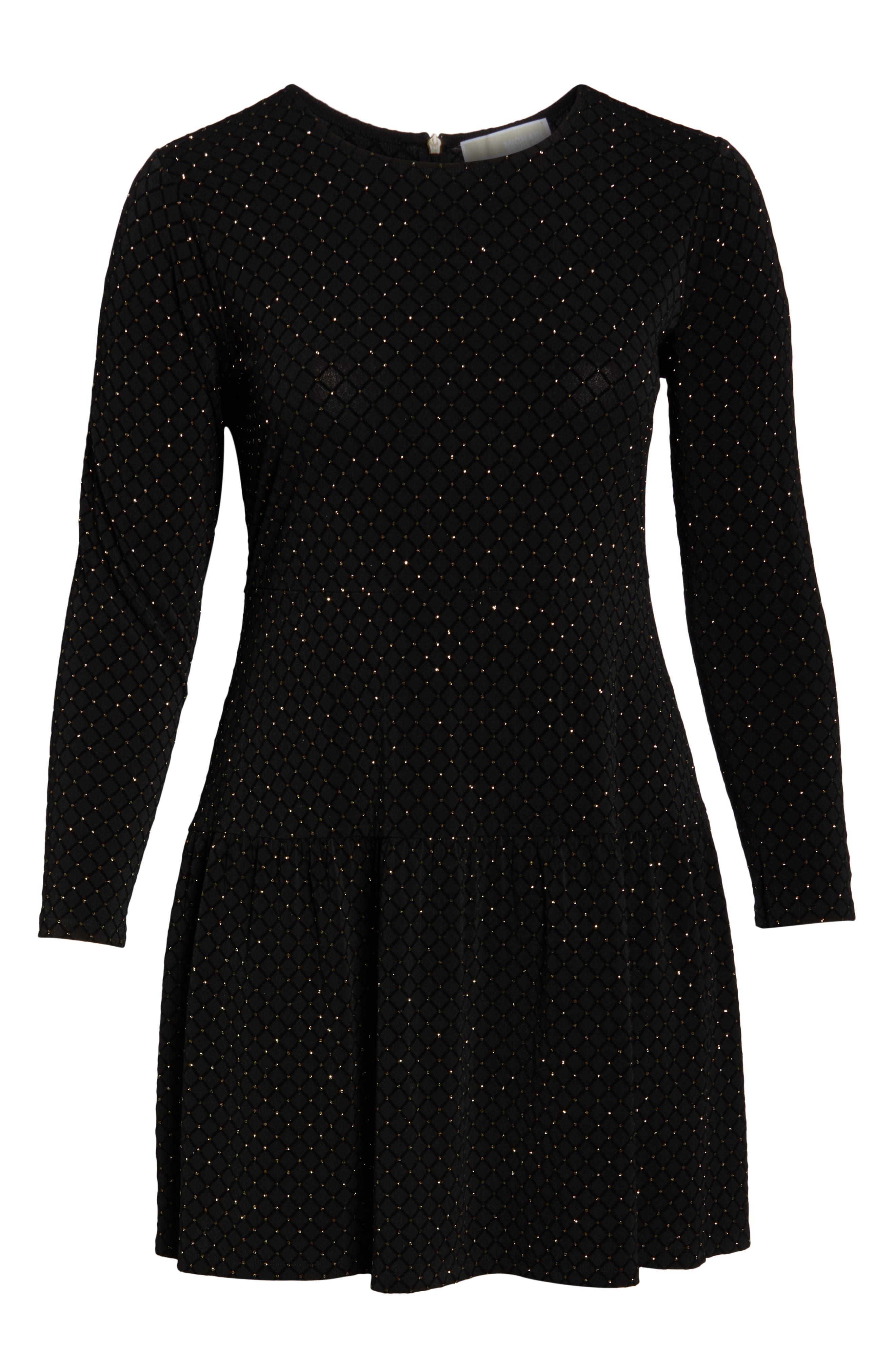 Long Sleeve Pleated Skirt Dress,                             Alternate thumbnail 7, color,                             BLACK/ GOLD