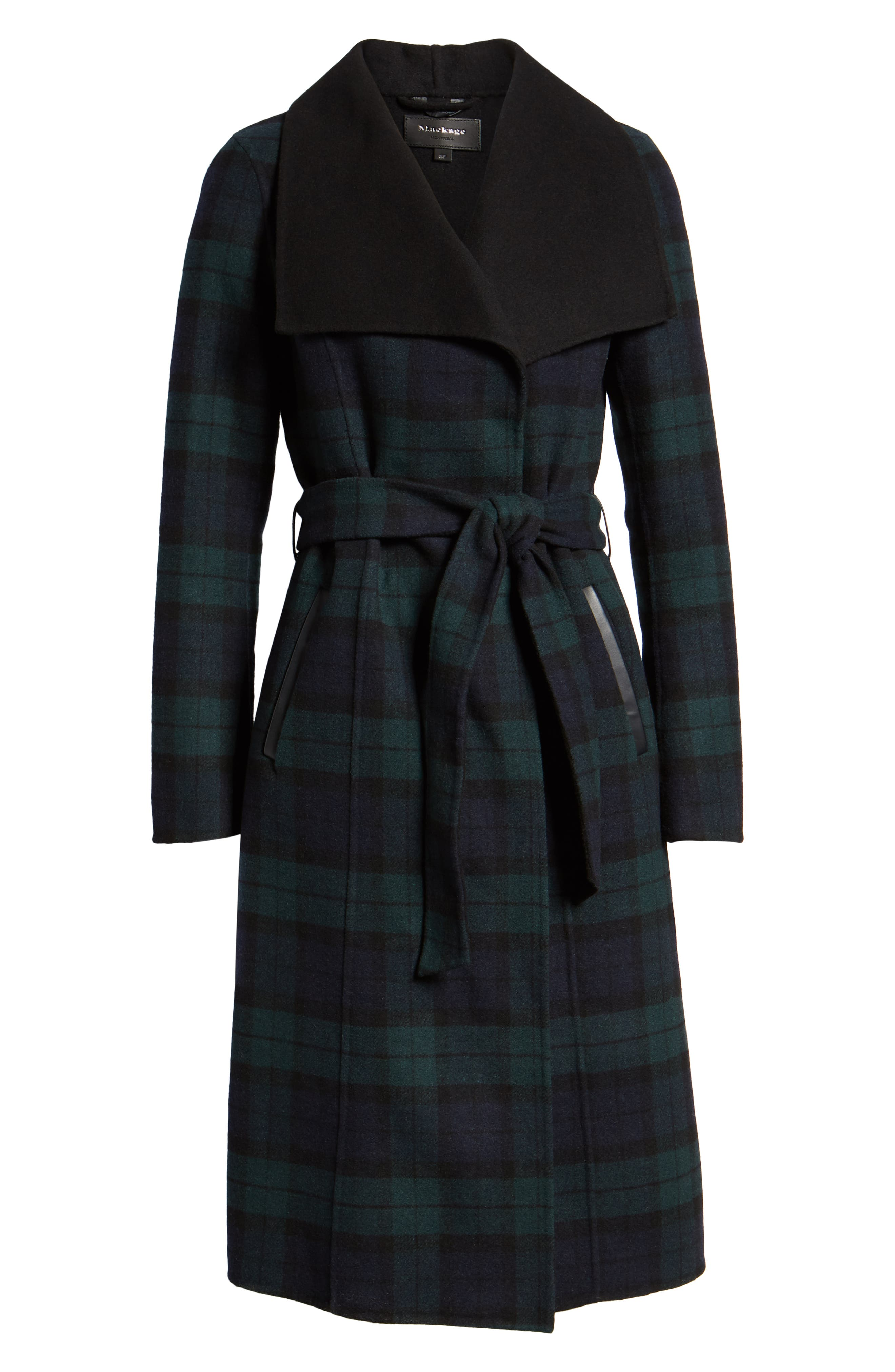 MACKAGE,                             Double Face Wool Leather Belted Coat,                             Alternate thumbnail 5, color,                             411