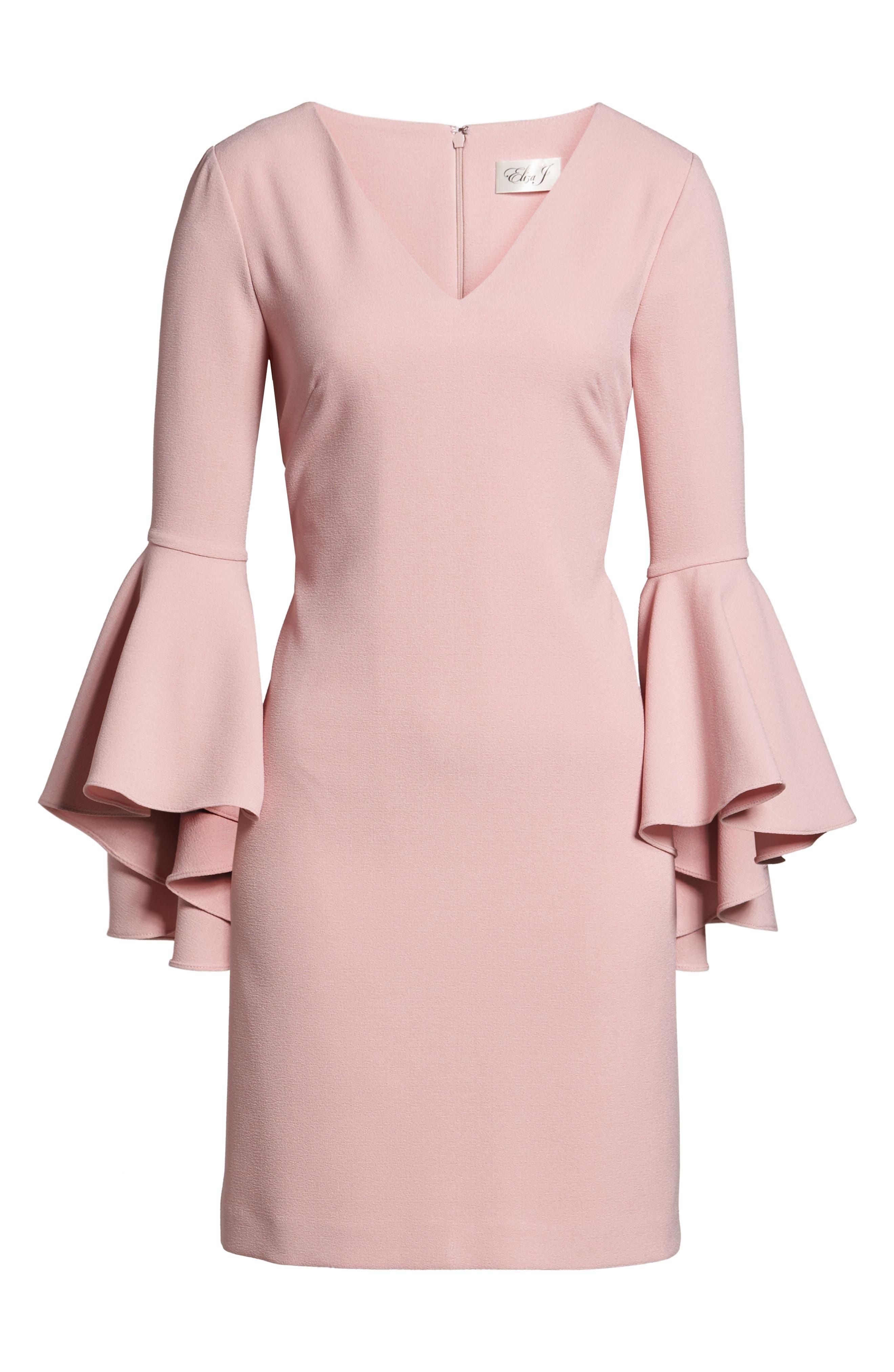 Bell Sleeve Crepe Shift Dress,                             Alternate thumbnail 25, color,