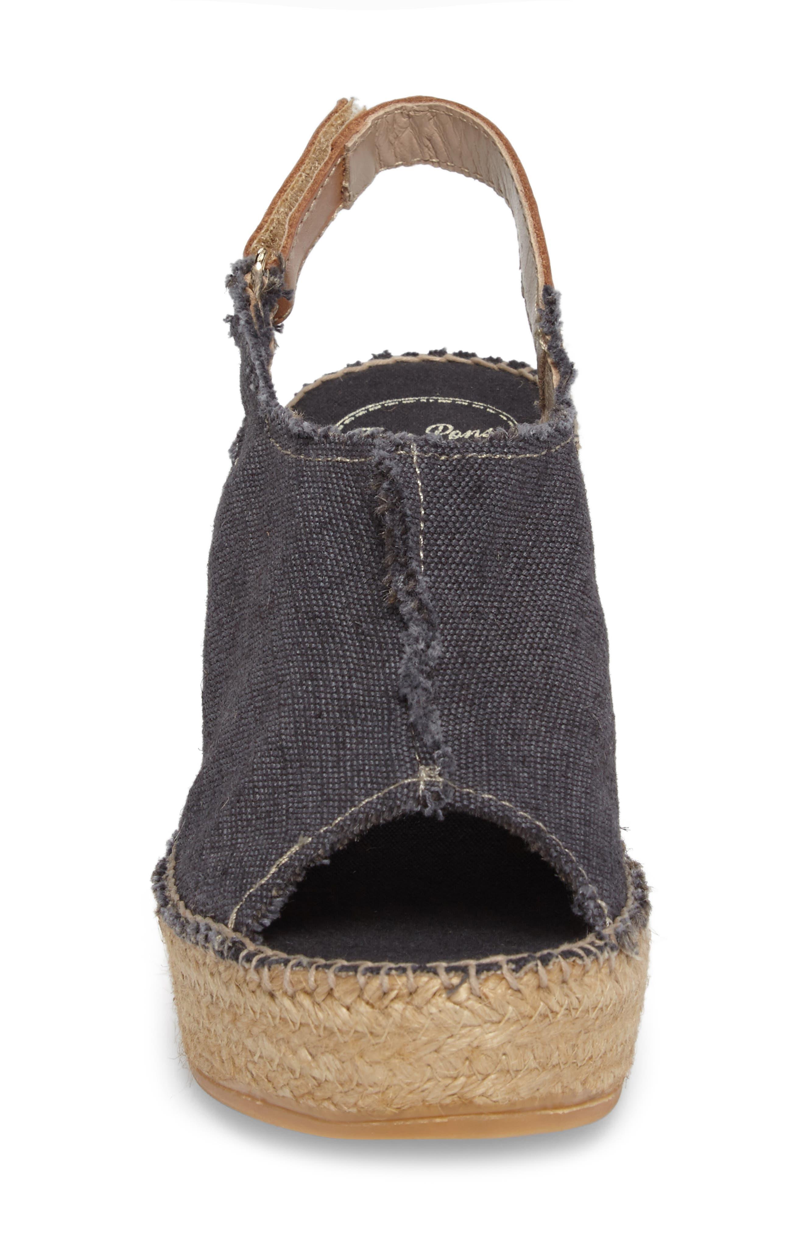 'Lugano' Espadrille Wedge Sandal,                             Alternate thumbnail 4, color,                             BLACK FABRIC
