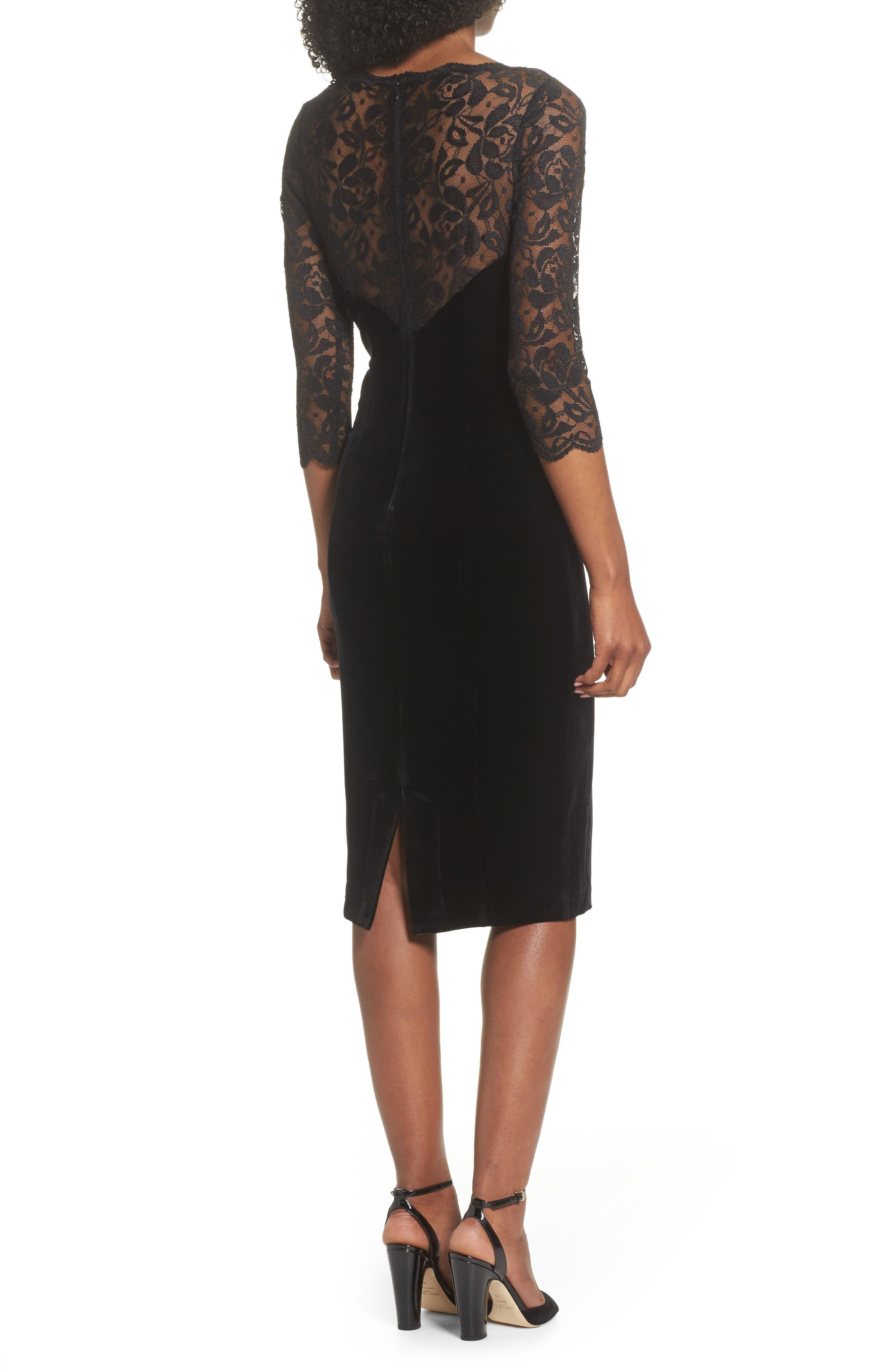 Lace & Velvet Sheath Dress,                             Alternate thumbnail 2, color,                             BLACK