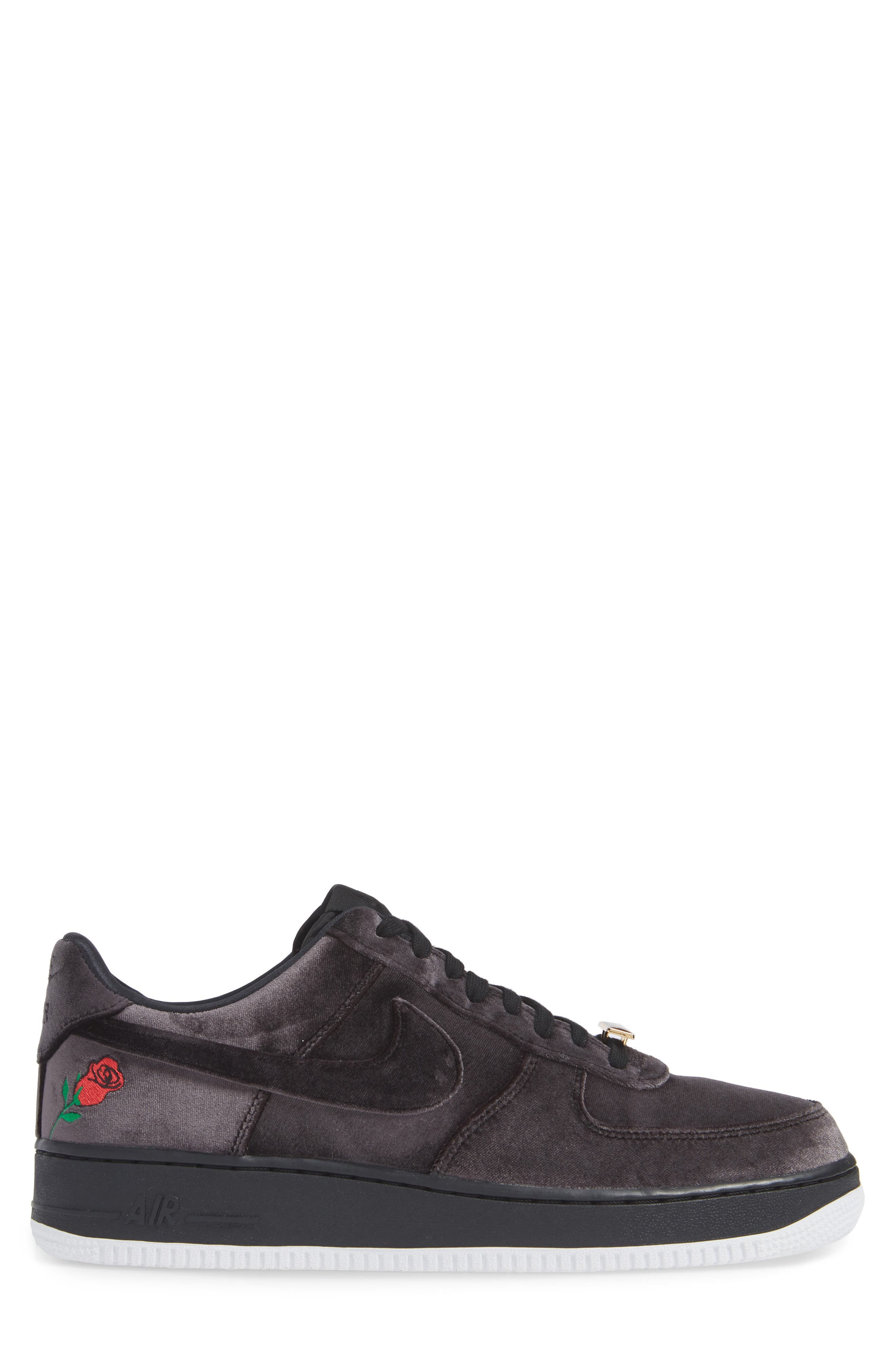 Air Force 1 '07 QS Sneaker,                             Alternate thumbnail 3, color,                             BLACK/ BLACK/ WHITE