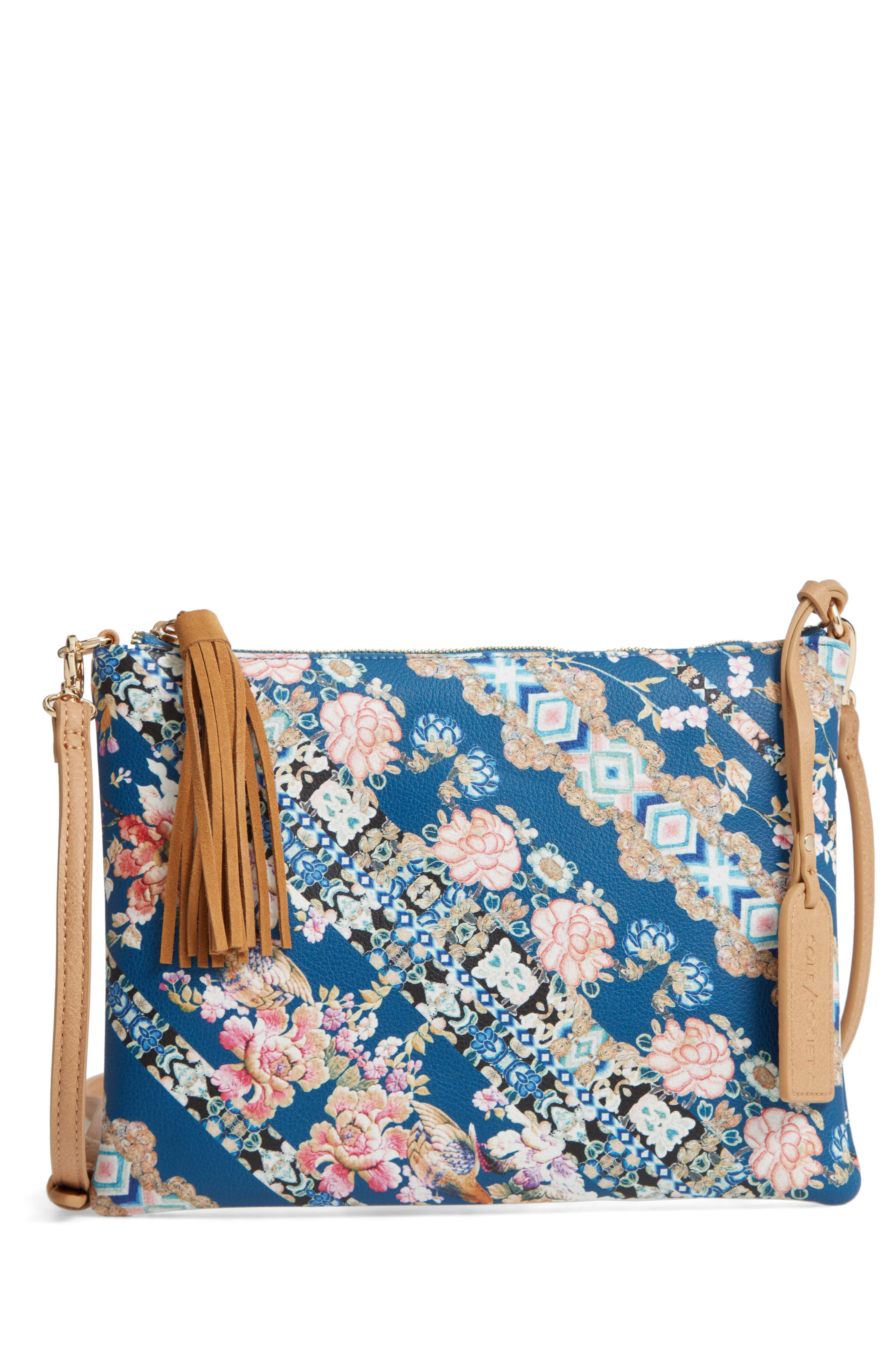Printed Faux Leather Pouch,                         Main,                         color, AZUL HARMONY