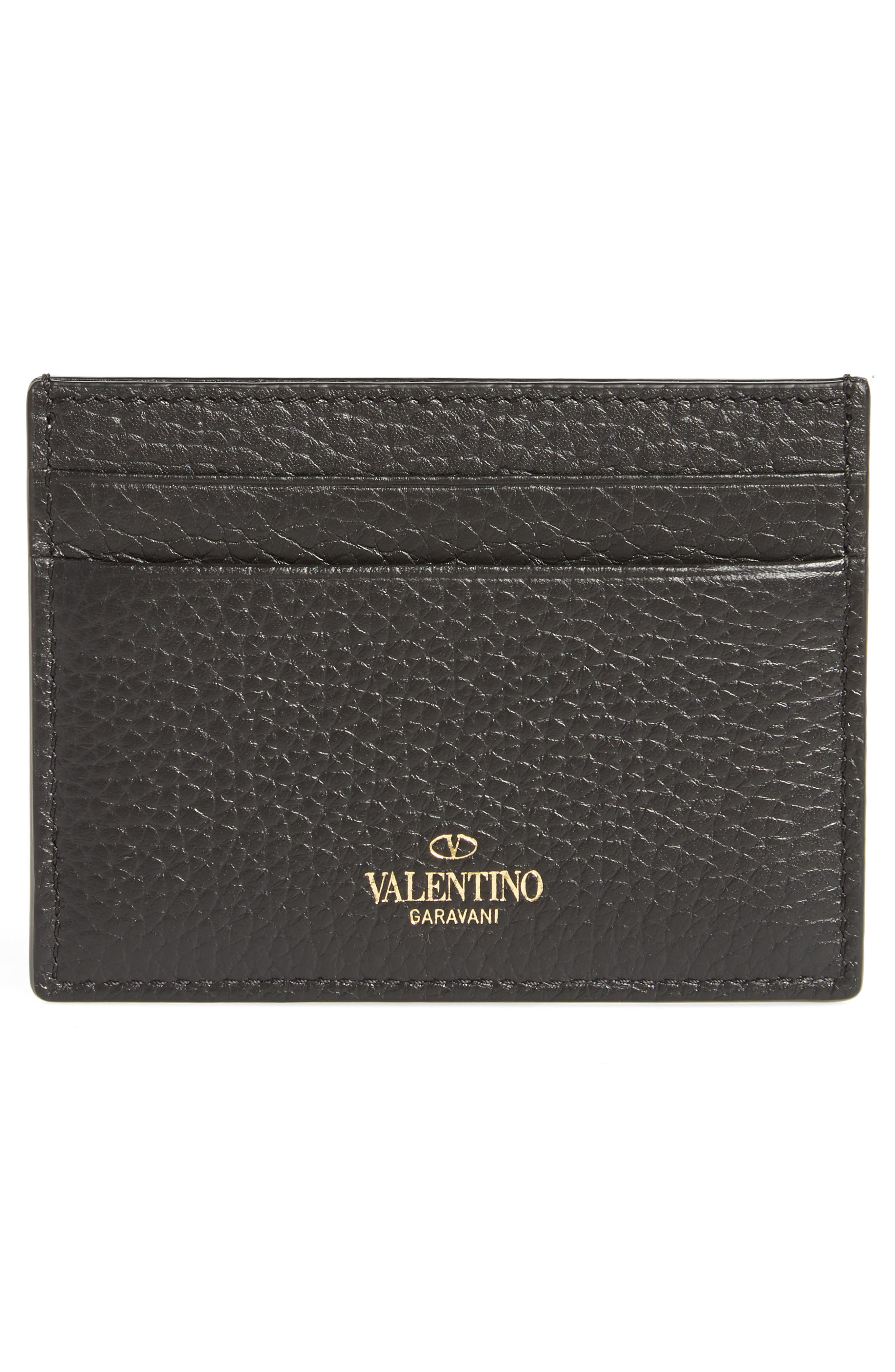 Rockstud Leather Card Holder,                             Alternate thumbnail 2, color,                             BLACK