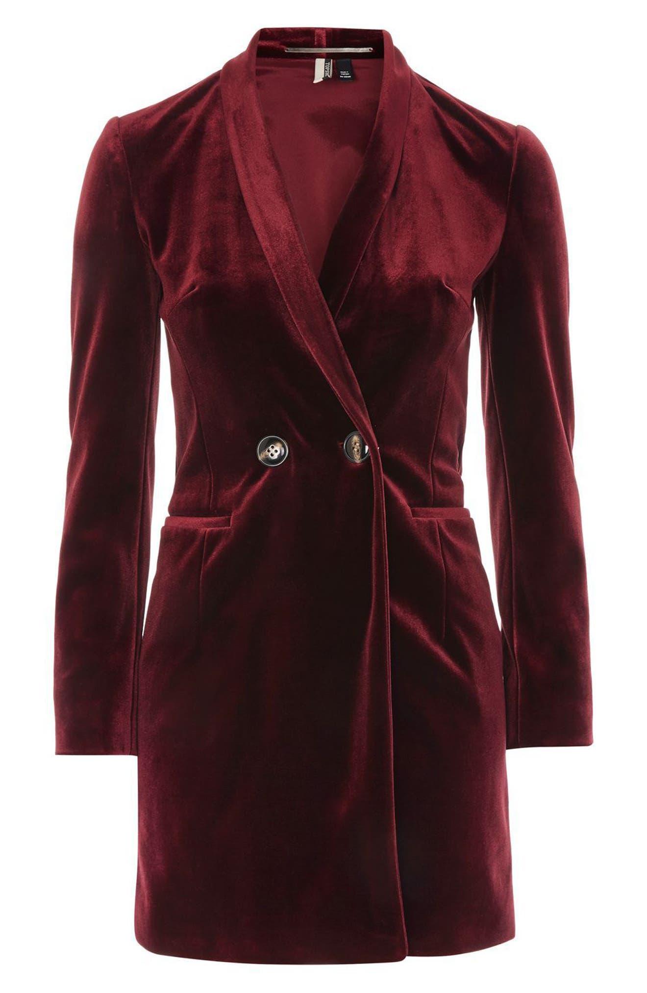 Double Breasted Velvet Blazer Dress,                             Alternate thumbnail 4, color,                             930