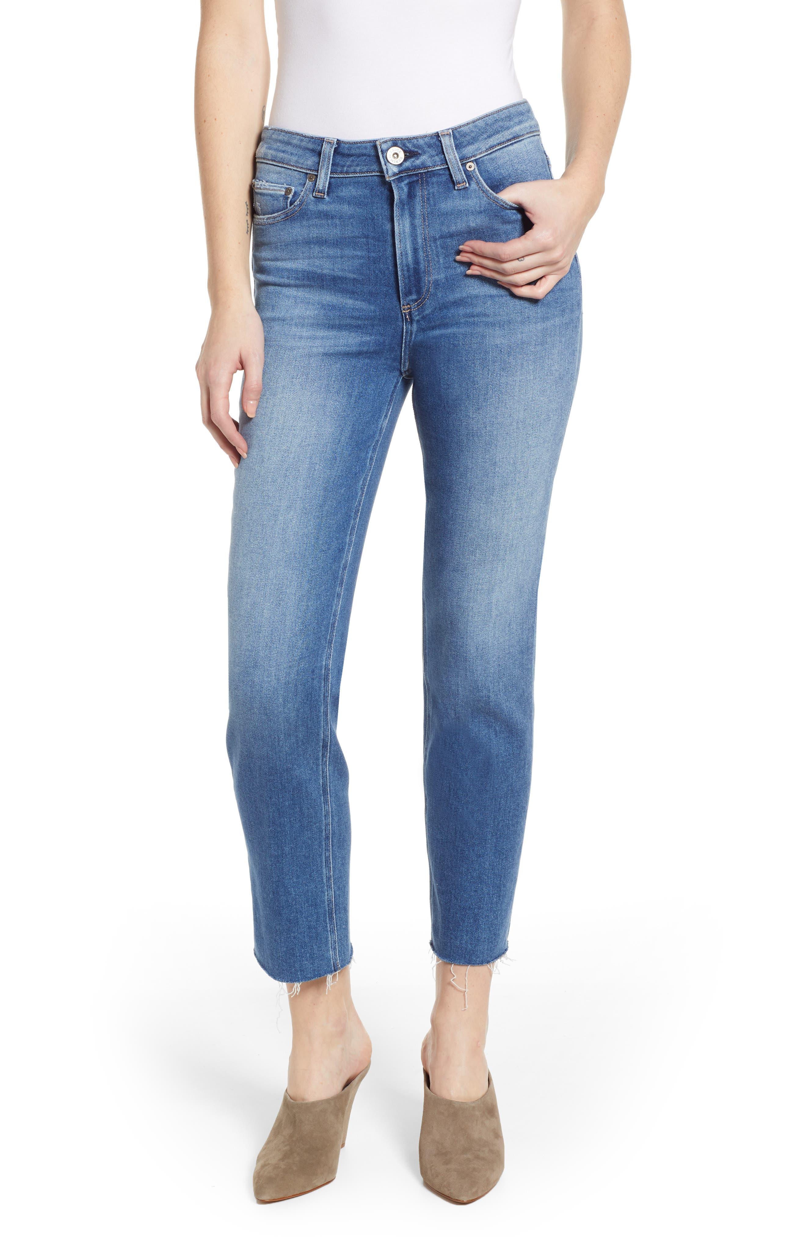 Vintage - Hoxton High Waist Raw Hem Straight Leg Jeans,                             Main thumbnail 1, color,                             RENZO DISTRESSED