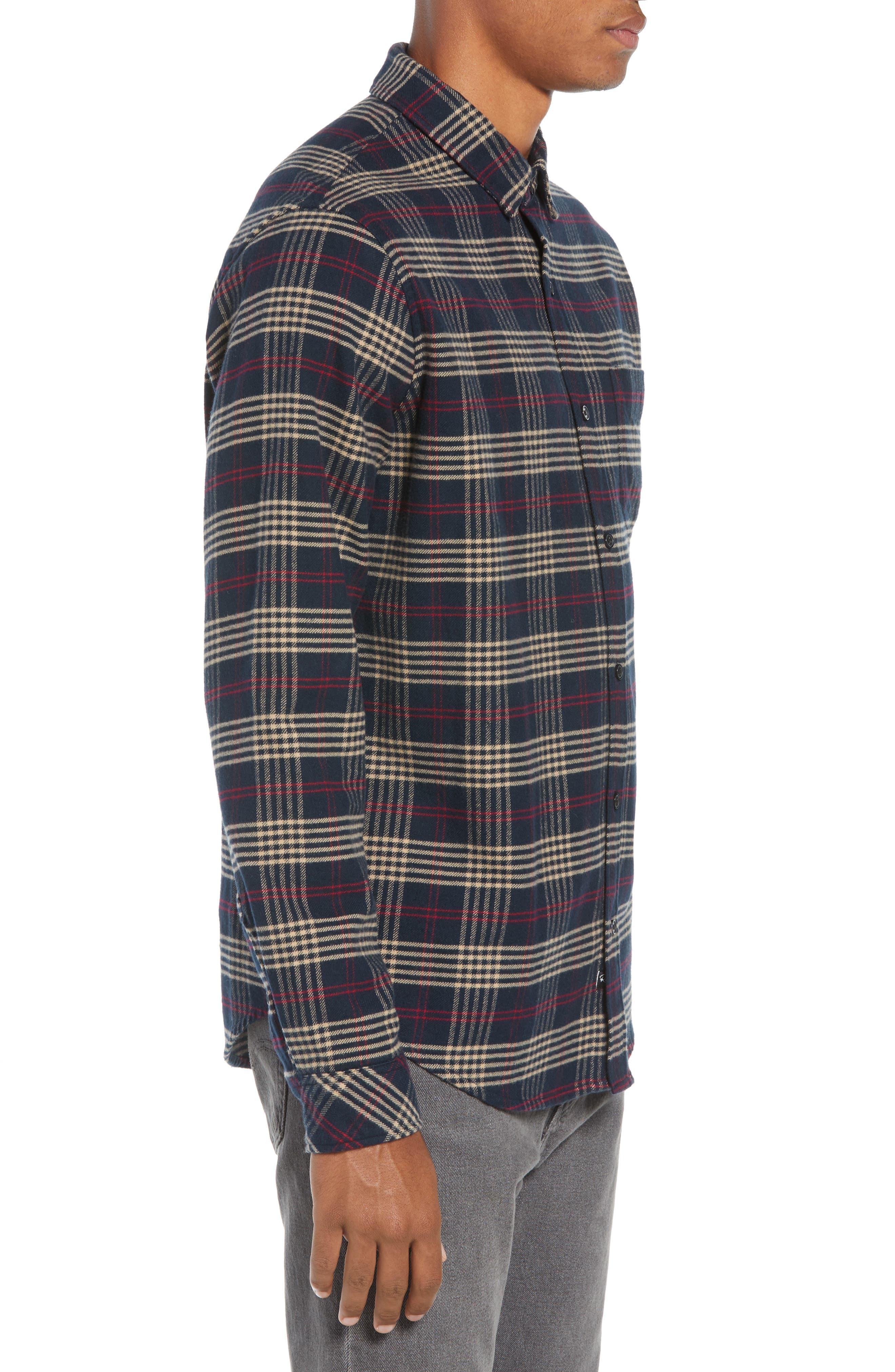 Forrest Slim Fit Plaid Flannel Sport Shirt,                             Alternate thumbnail 4, color,                             NAVY/RED/ELM