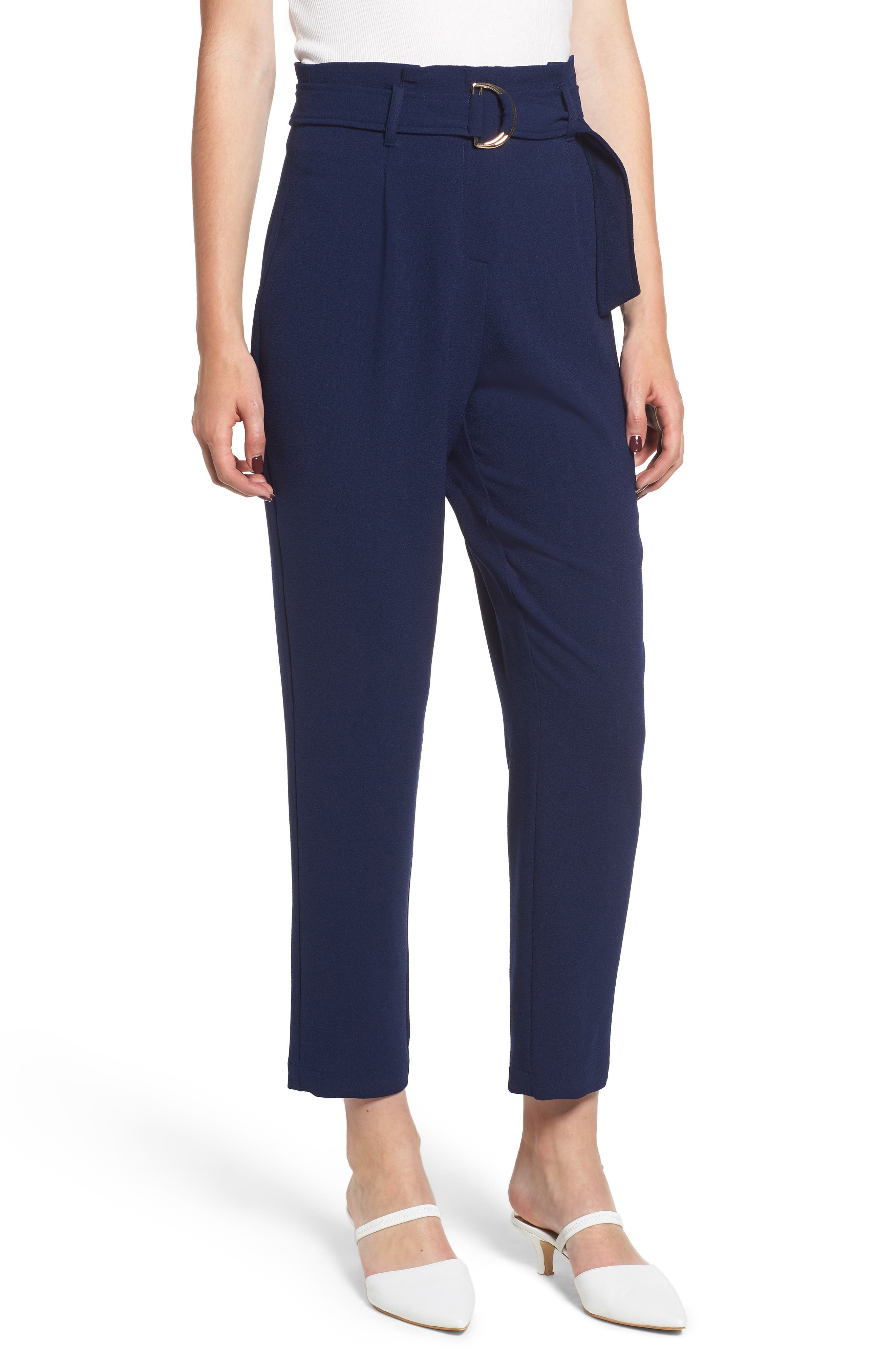 Paperbag Waist Crop Pants,                         Main,                         color, 401