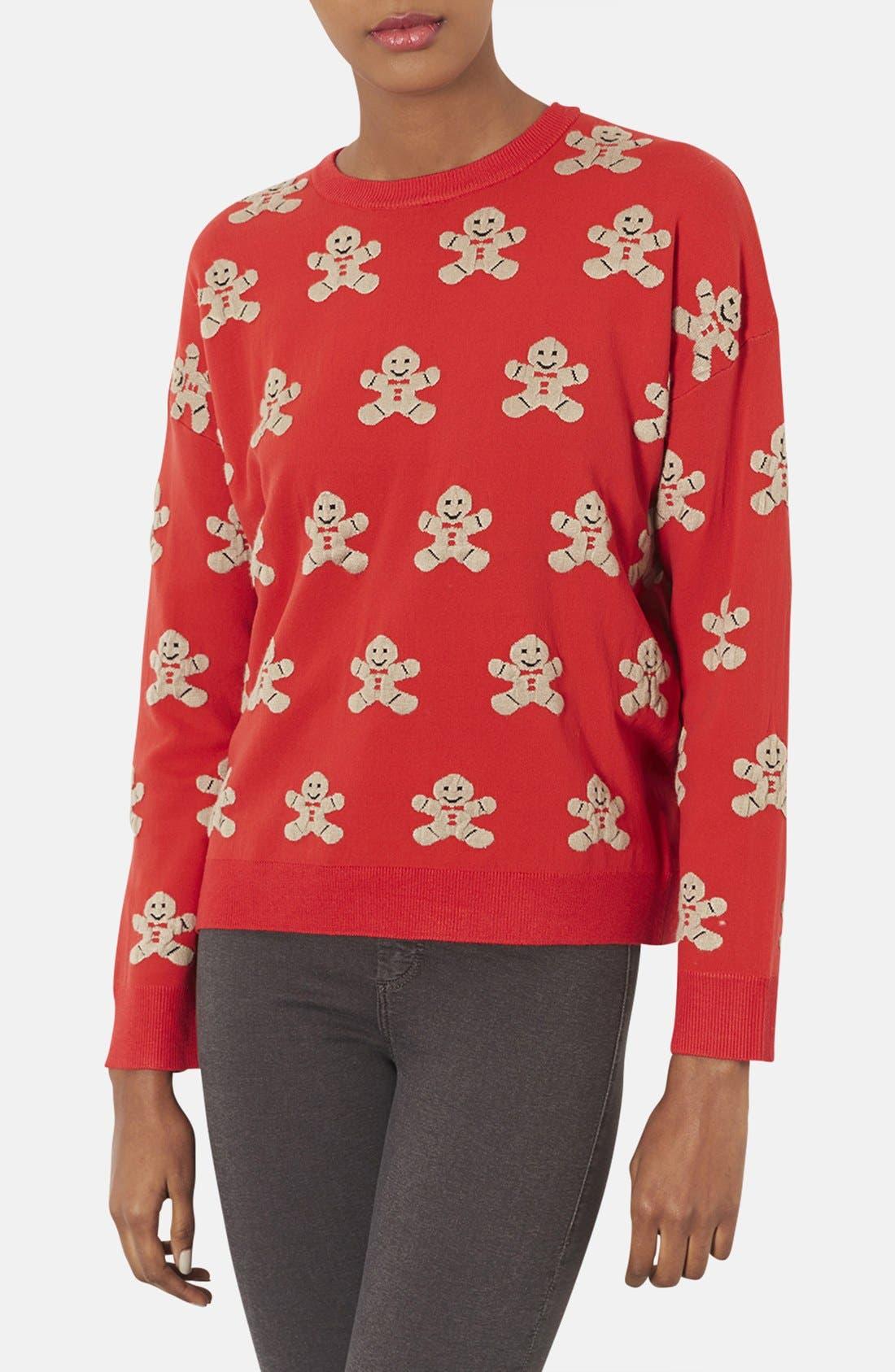 TOPSHOP,                             Gingerbread Man Sweater,                             Main thumbnail 1, color,                             600