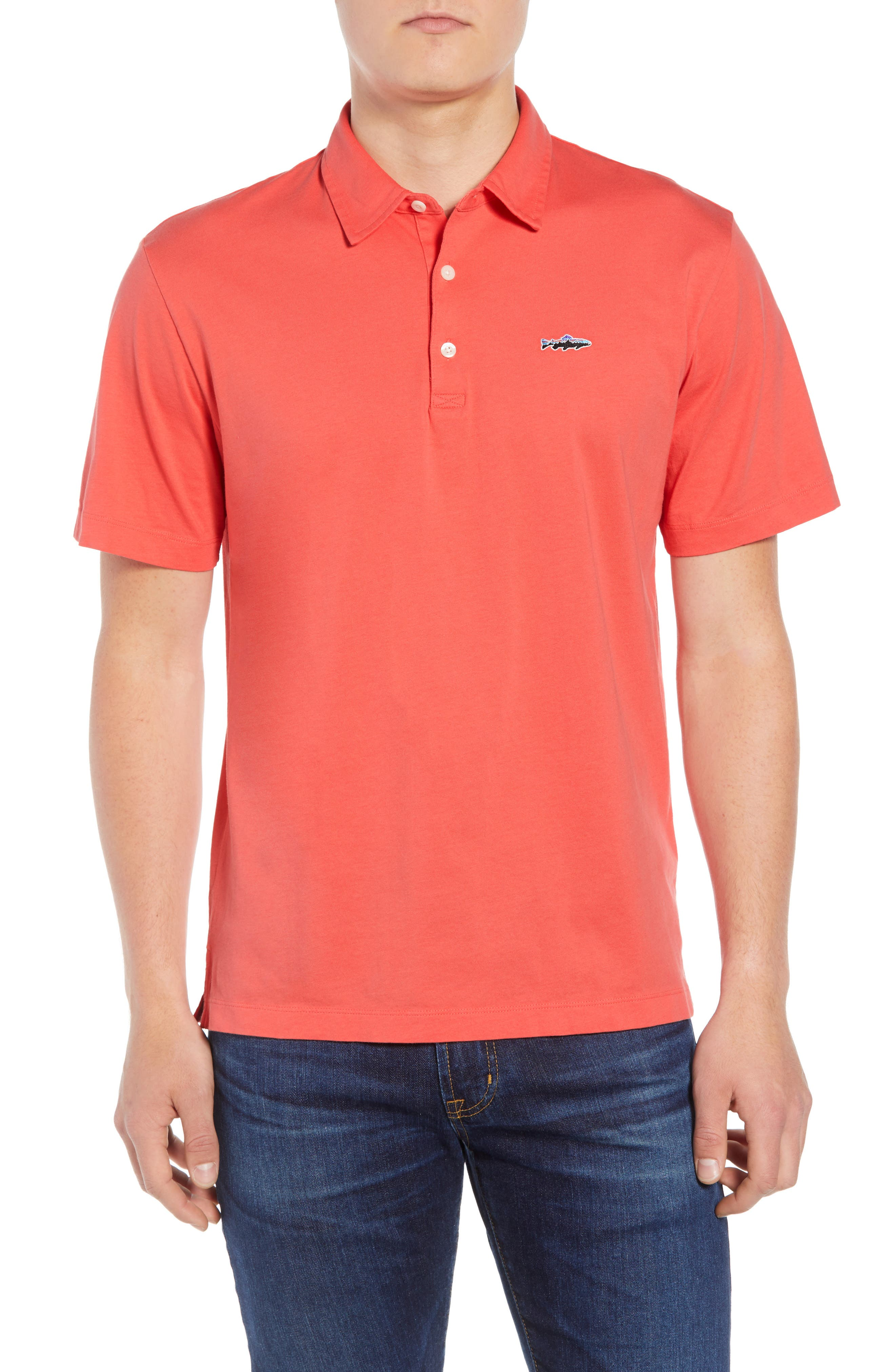 'Trout Fitz Roy' Organic Cotton Polo,                             Main thumbnail 1, color,                             SPICED CORAL