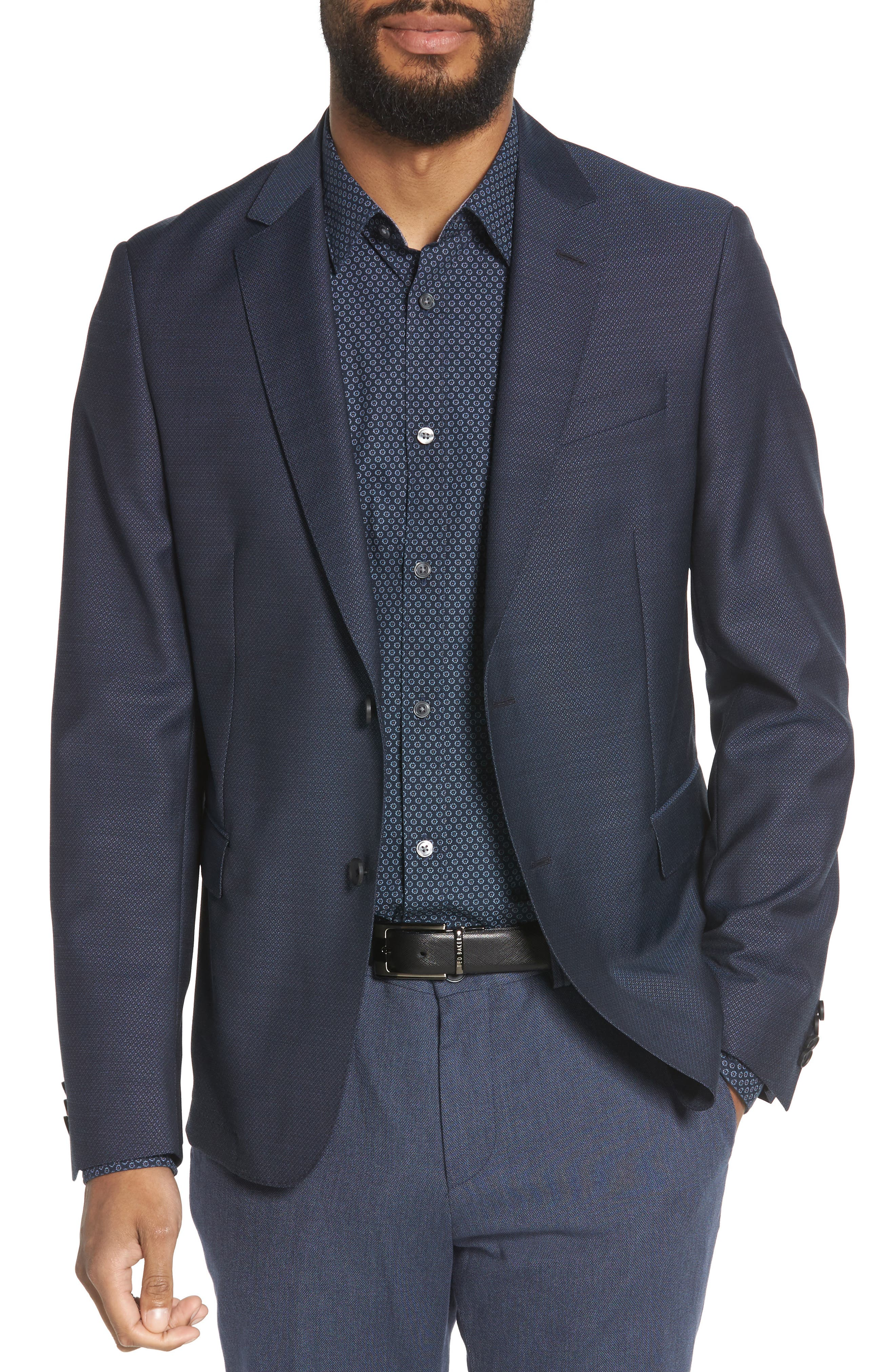 Nobis Trim Fit Wool Blazer,                         Main,                         color, BLUE
