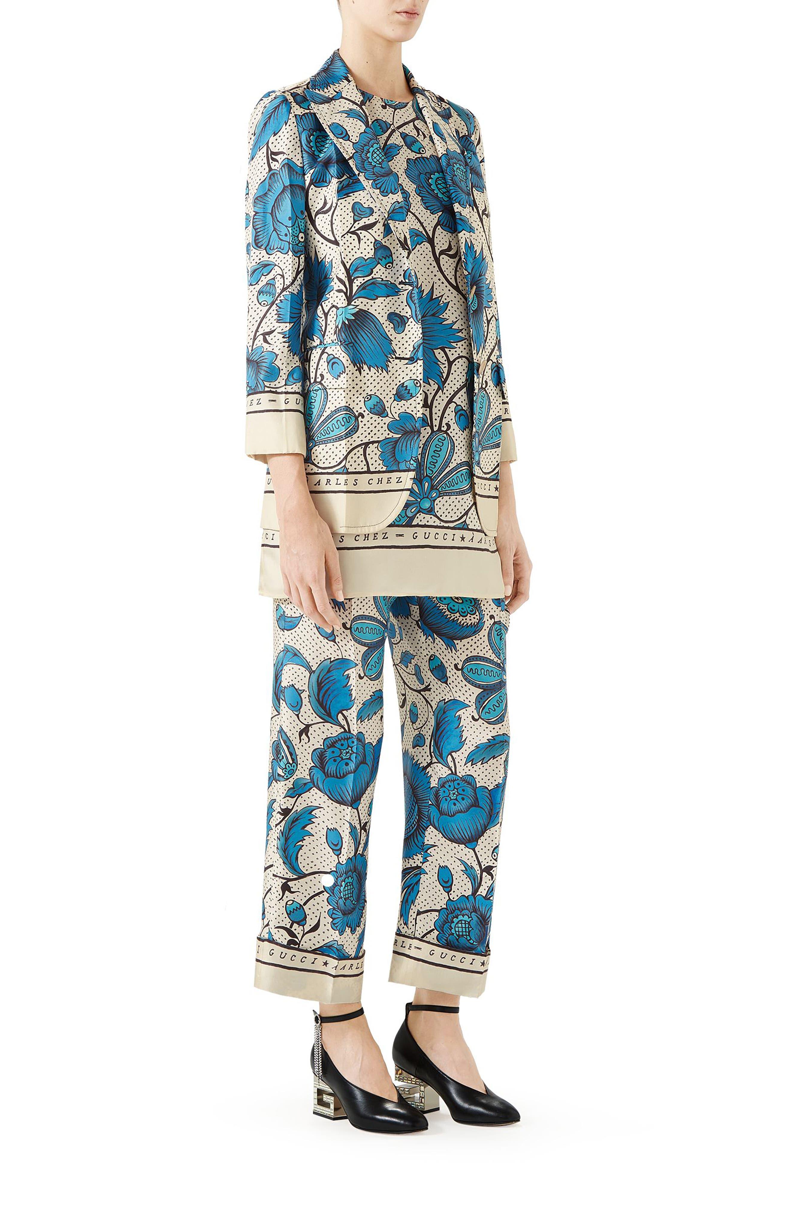 Watercolor Floral Print Silk Jacket,                             Alternate thumbnail 4, color,                             4821 BLUE/ IVORY PRT/ MC