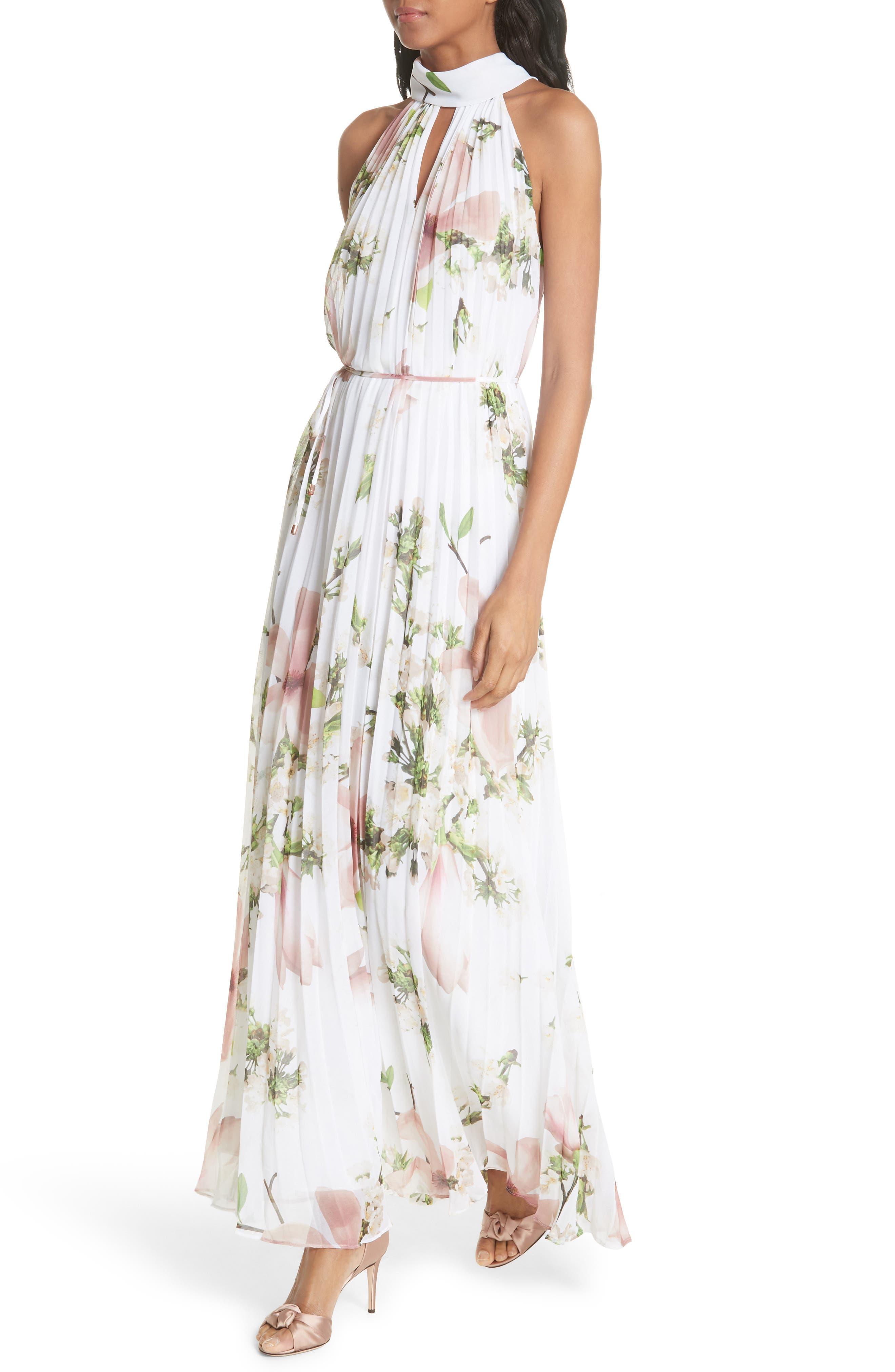 Harmony Pleat Maxi Dress,                             Alternate thumbnail 4, color,                             110