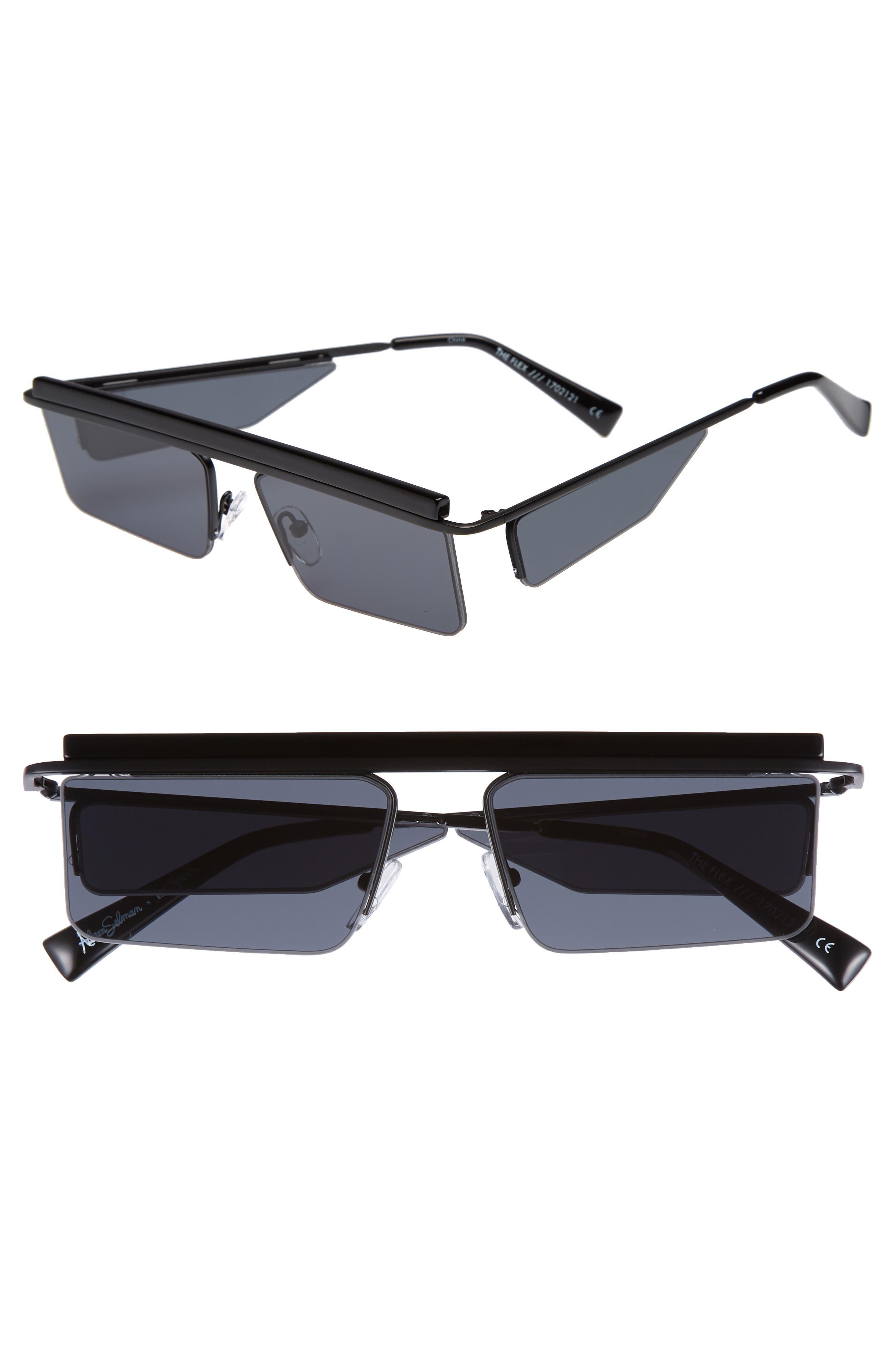 Adam Selman X Le Specs Luxe The Flex 55Mm Semi Rimless Sunglasses - Satin Black