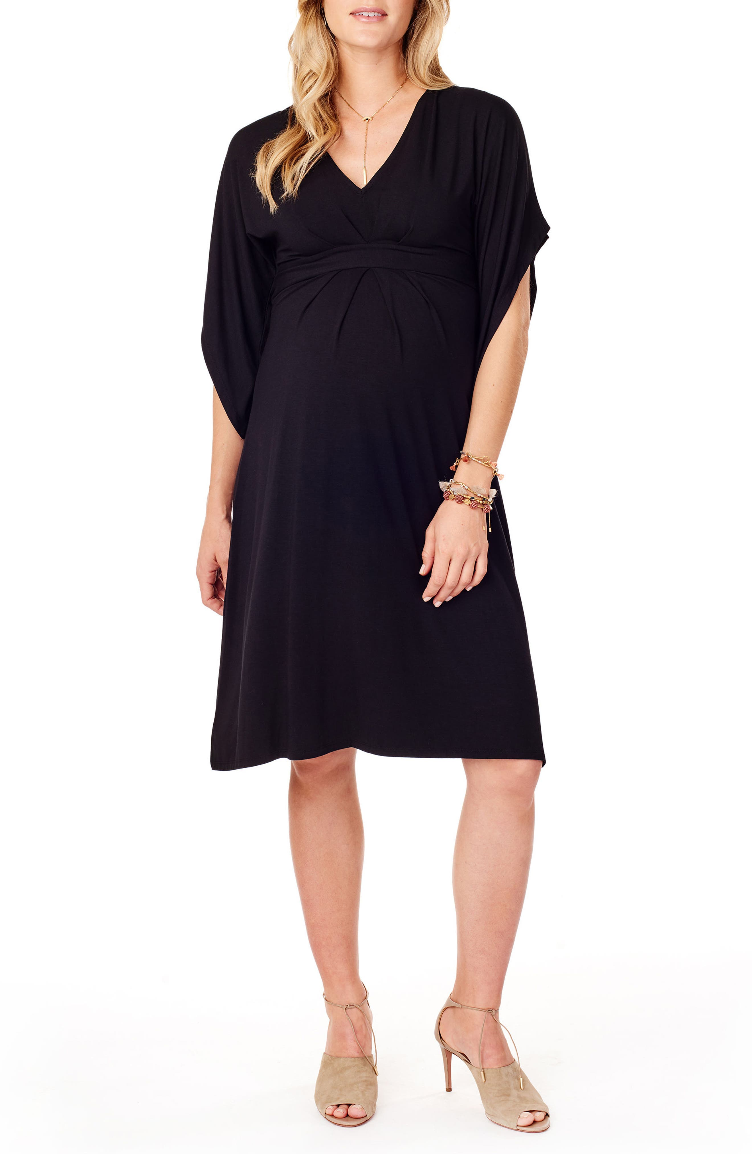 Split Kimono Sleeve Maternity Dress,                         Main,                         color, JET BLACK