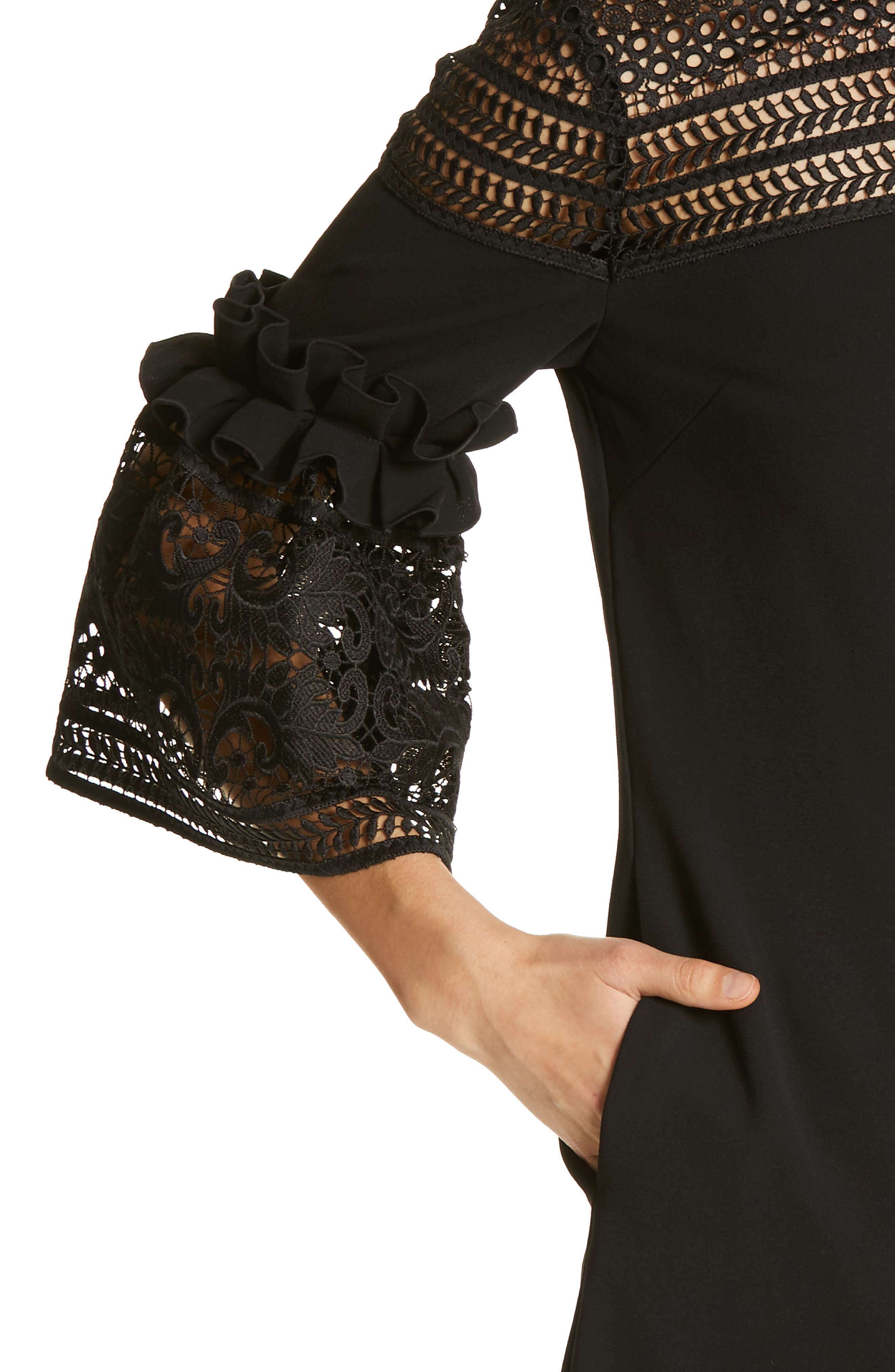 Lace Panel Bell Sleeve Tunic Dress,                             Alternate thumbnail 4, color,                             BLACK
