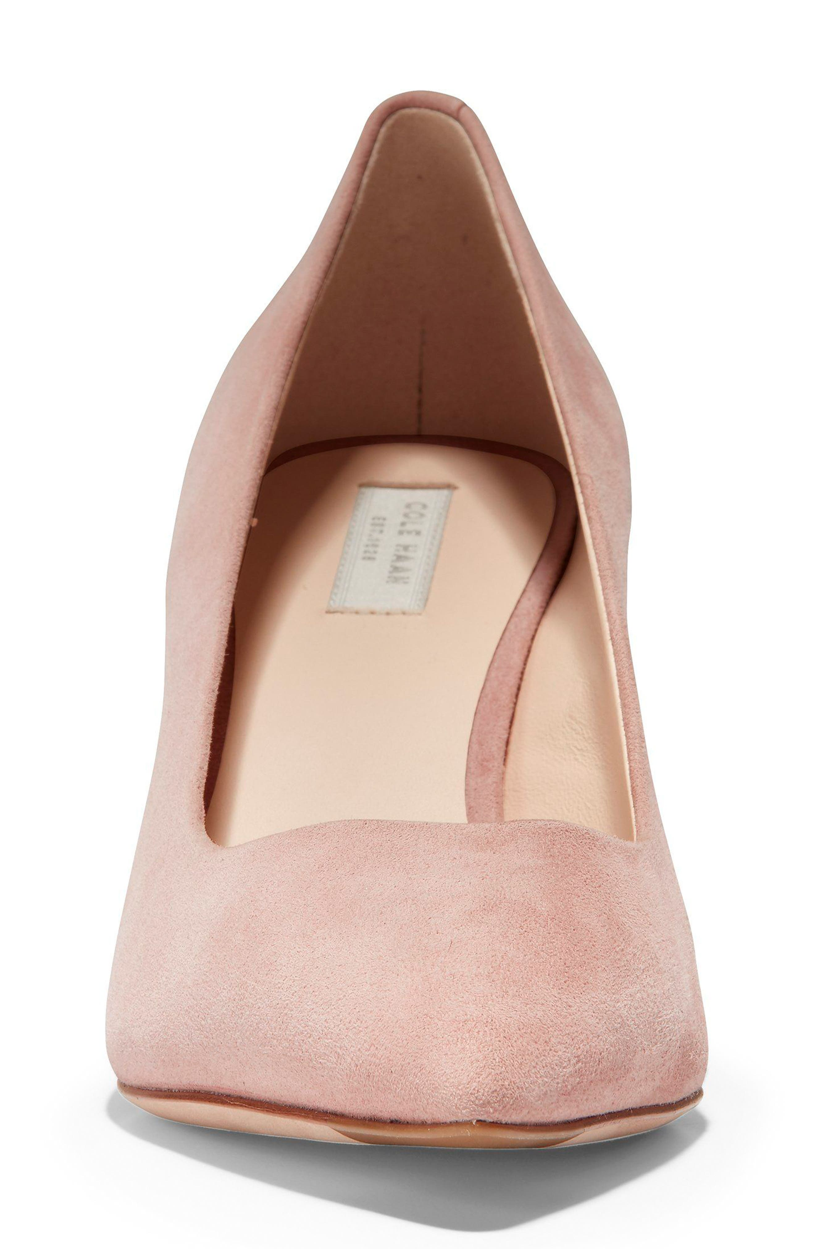 Vesta Pointy Toe Pump,                             Alternate thumbnail 4, color,                             SILVER PINK SUEDE