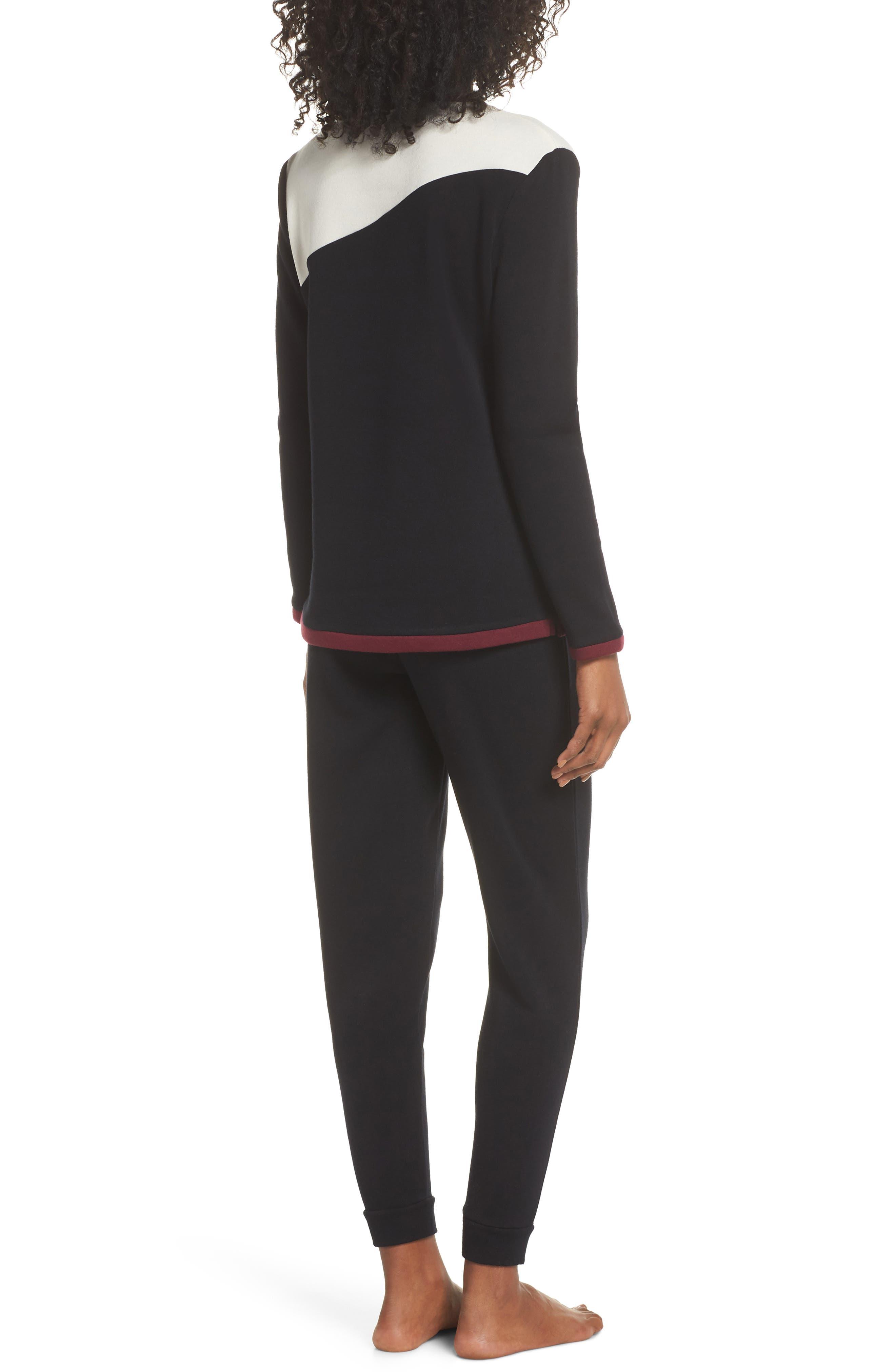 Fleece Cozy Lounger Pajamas,                             Alternate thumbnail 2, color,                             BLACK