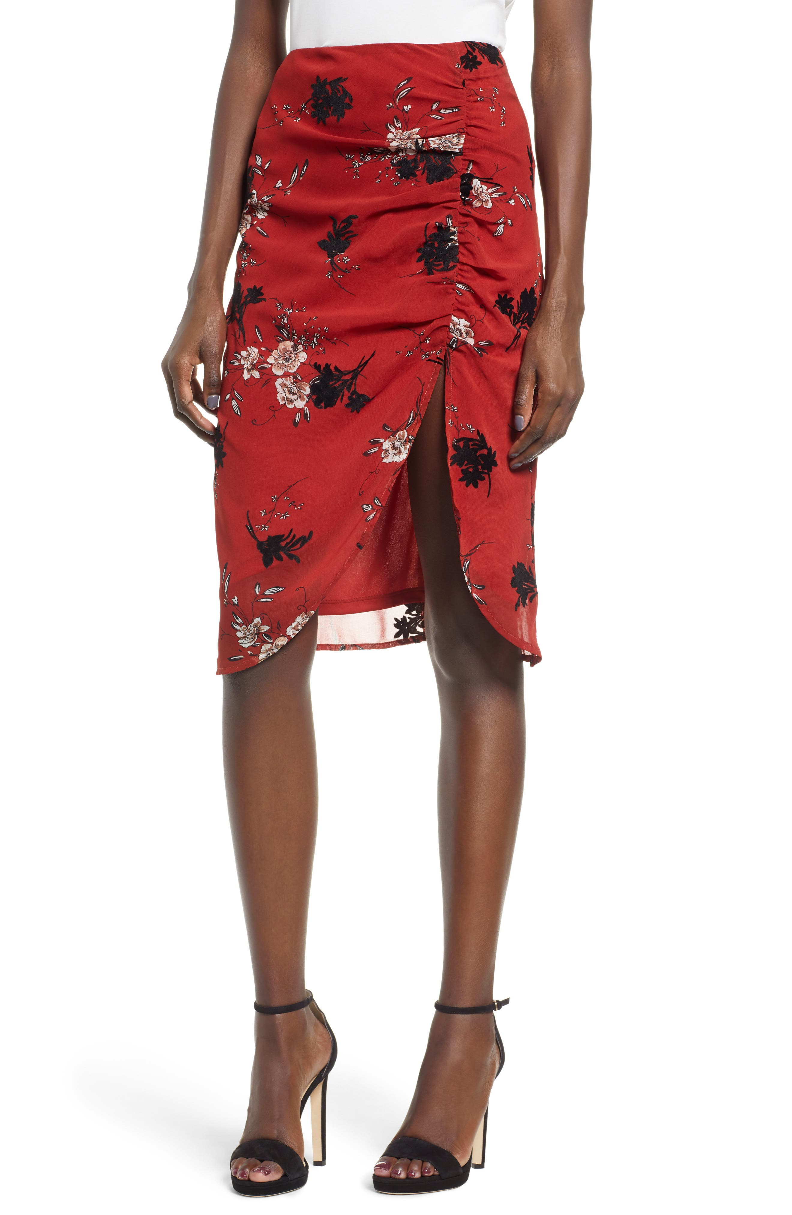 4Si3Nna Cinch Front Skirt, Brown