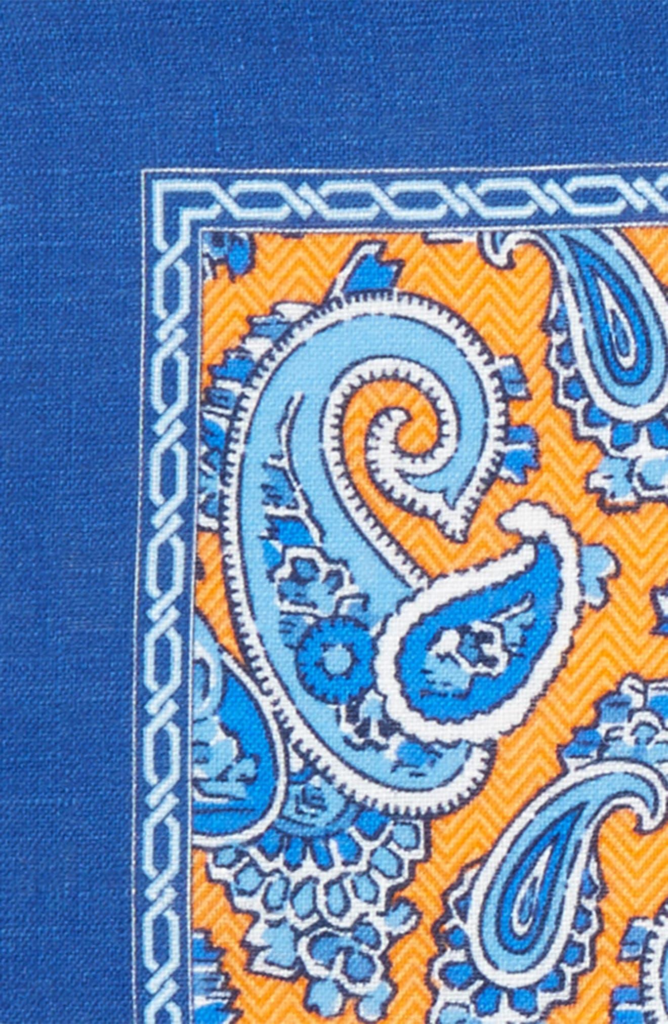 Paisley Linen Pocket Square,                             Alternate thumbnail 12, color,