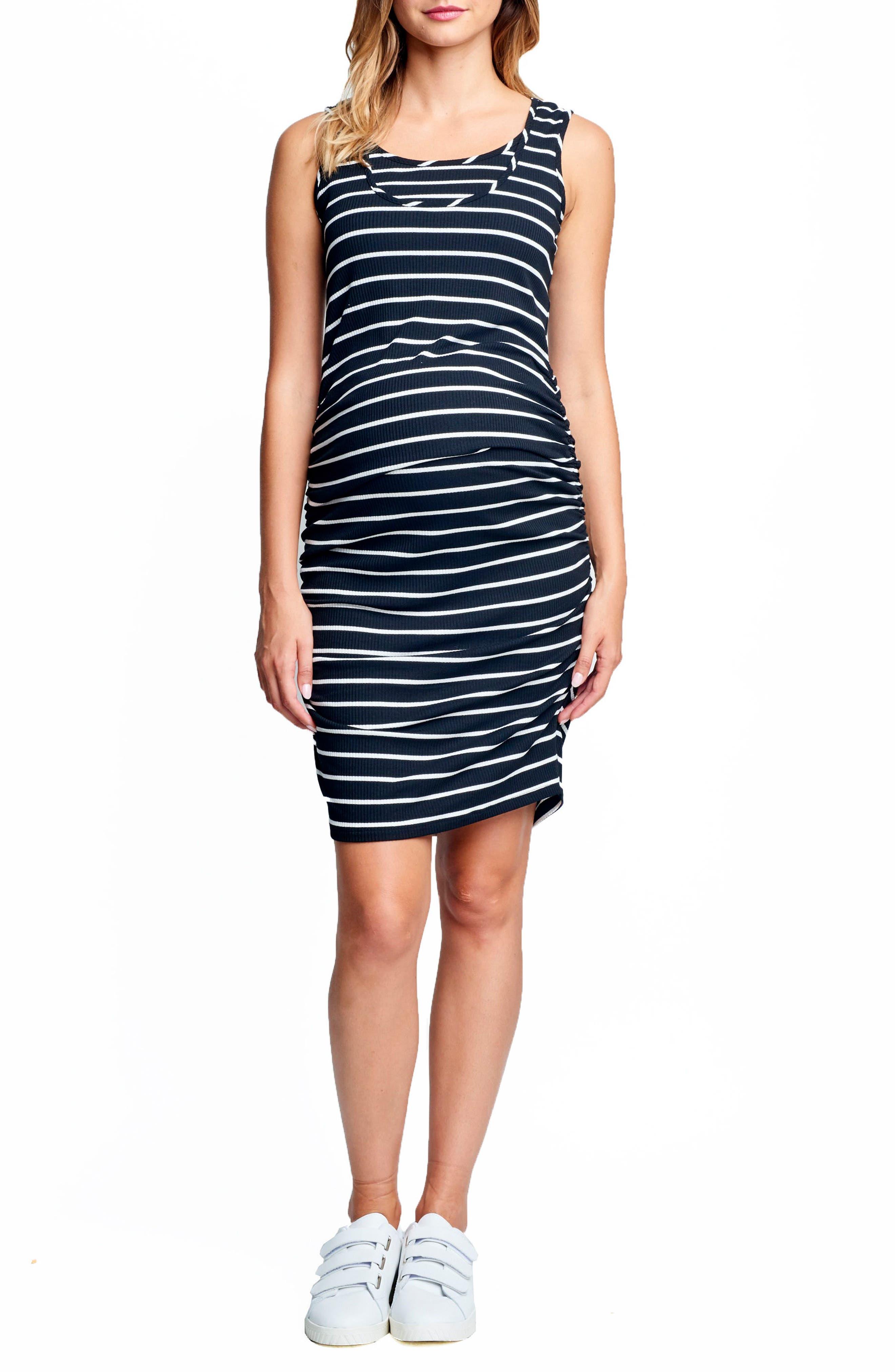 Ruched Maternity/Nursing Dress,                             Main thumbnail 1, color,                             BLACK/ WHITE STRIPE