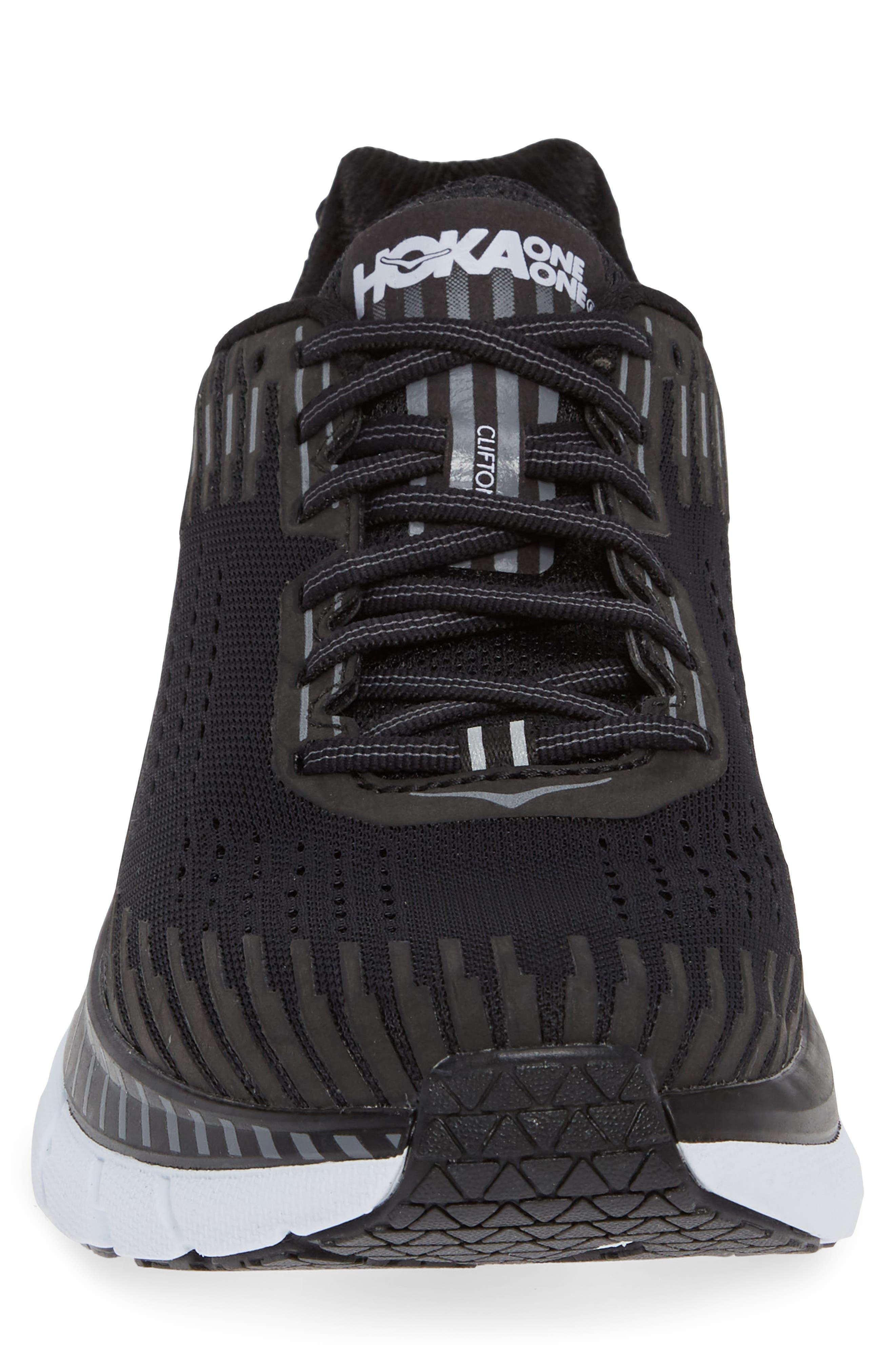 Clifton 5 Running Shoe,                             Alternate thumbnail 4, color,                             BLACK/ WHITE