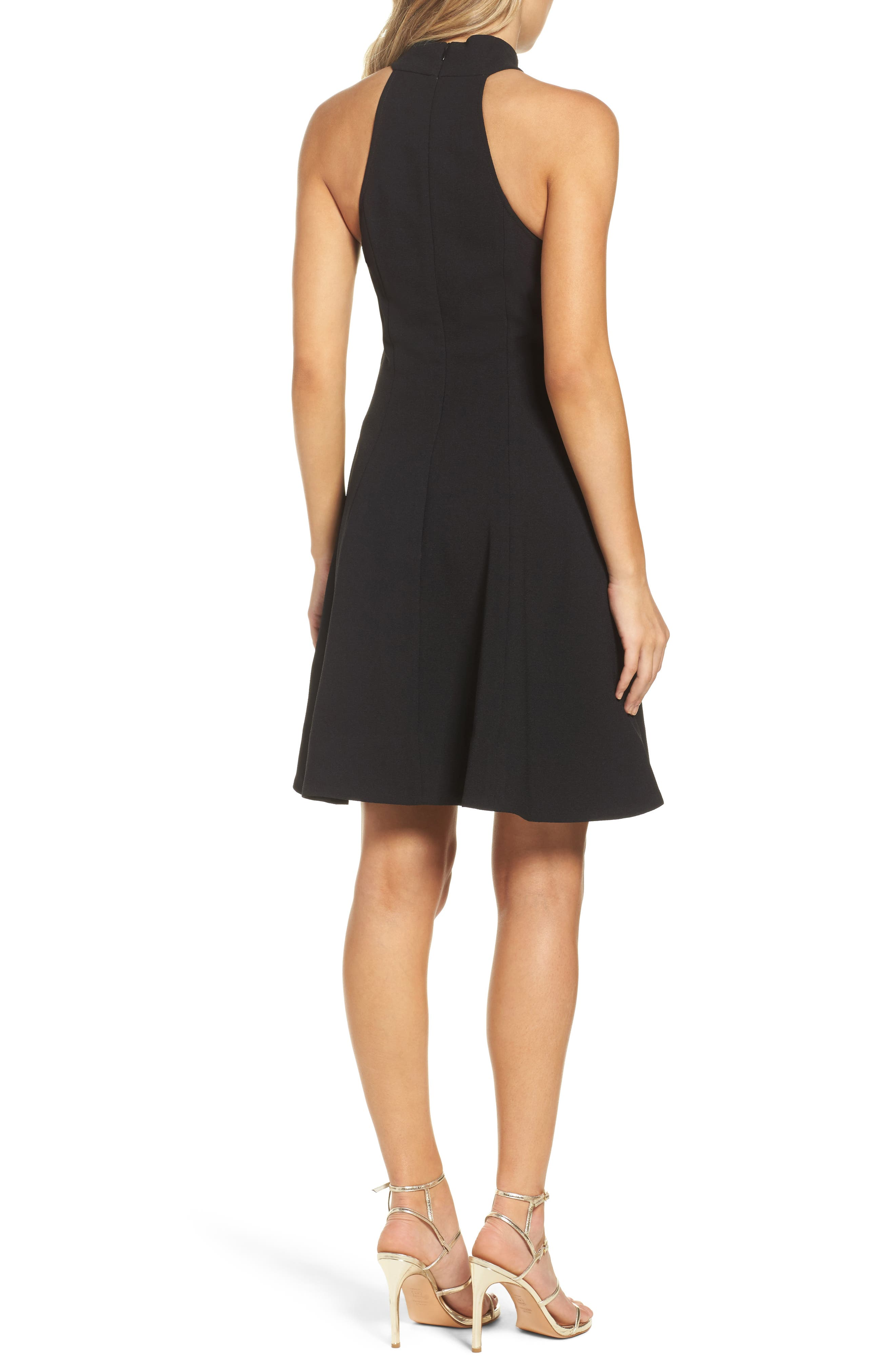 Fusion Halter Style Fit & Flare Dress,                             Alternate thumbnail 2, color,                             001