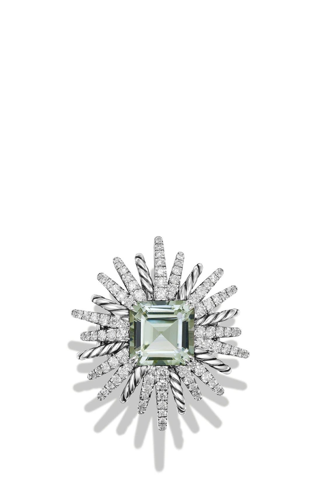 'Starburst' Ring with Semiprecious Stone and Diamonds,                             Alternate thumbnail 3, color,                             PRASIOLITE