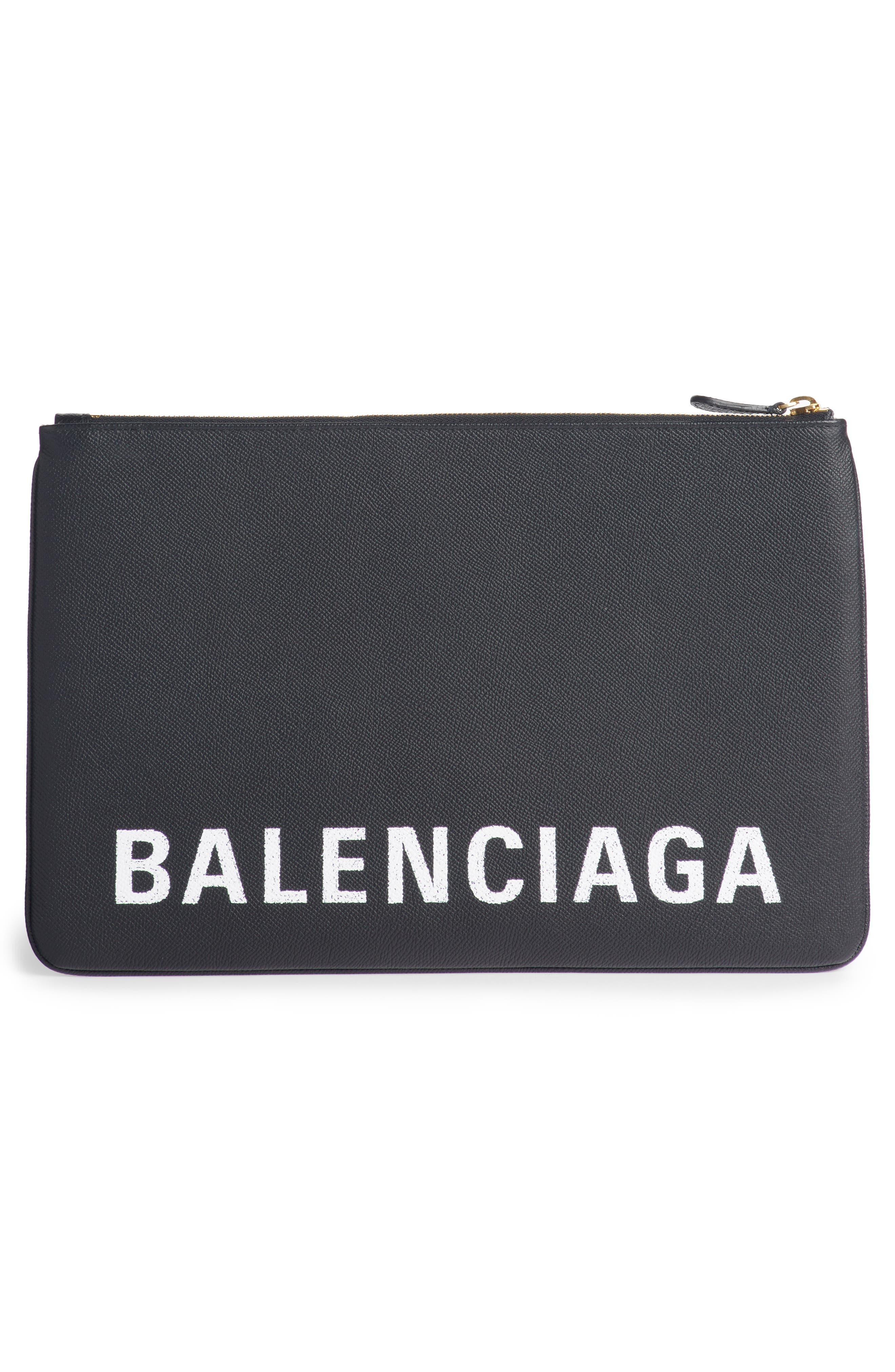 BALENCIAGA,                             Ville Logo Calfskin Leather Pouch,                             Alternate thumbnail 3, color,                             NOIR/ BLANC