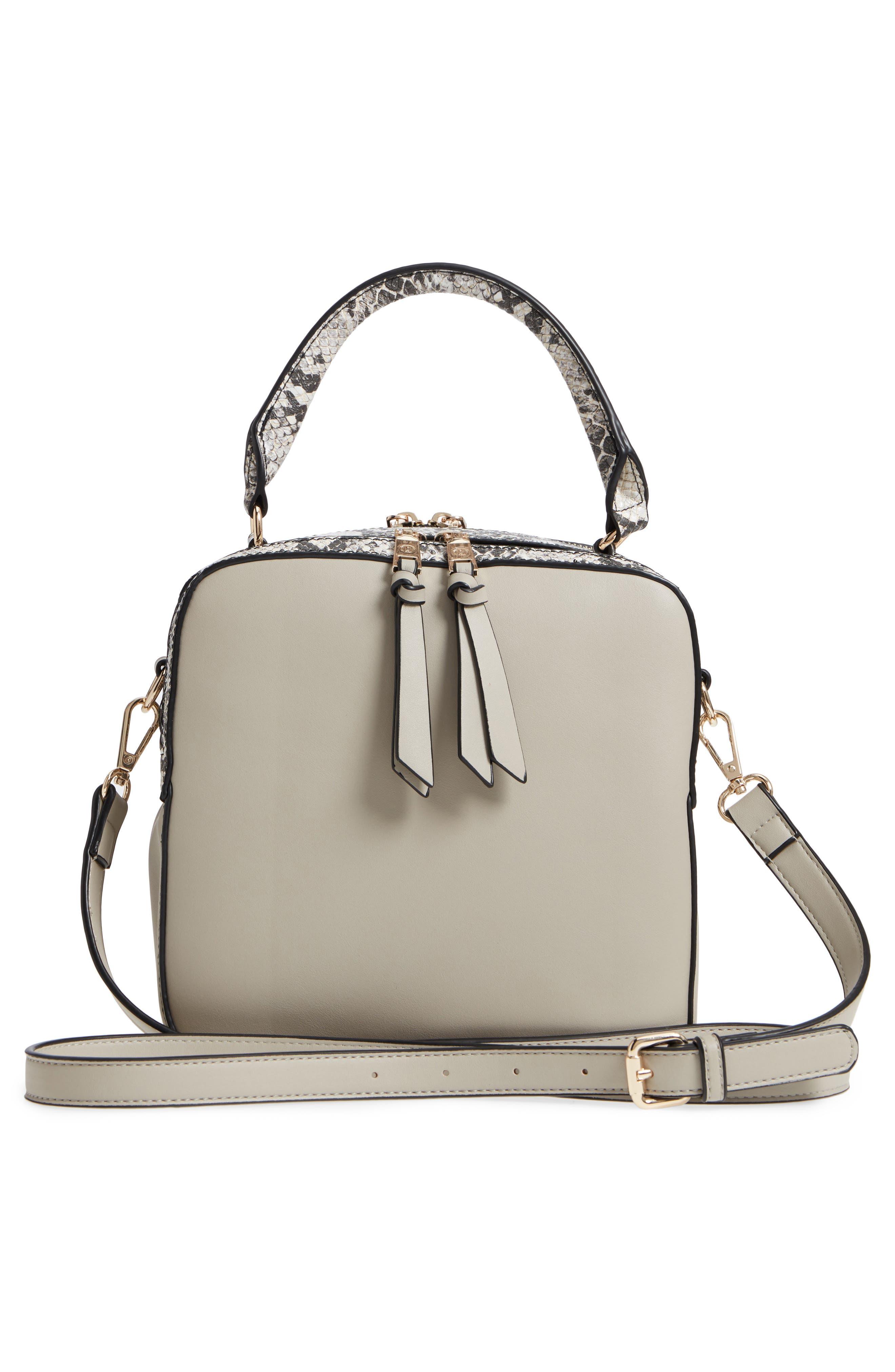 Céline Dion Motif Top Handle Leather Satchel,                             Alternate thumbnail 8, color,