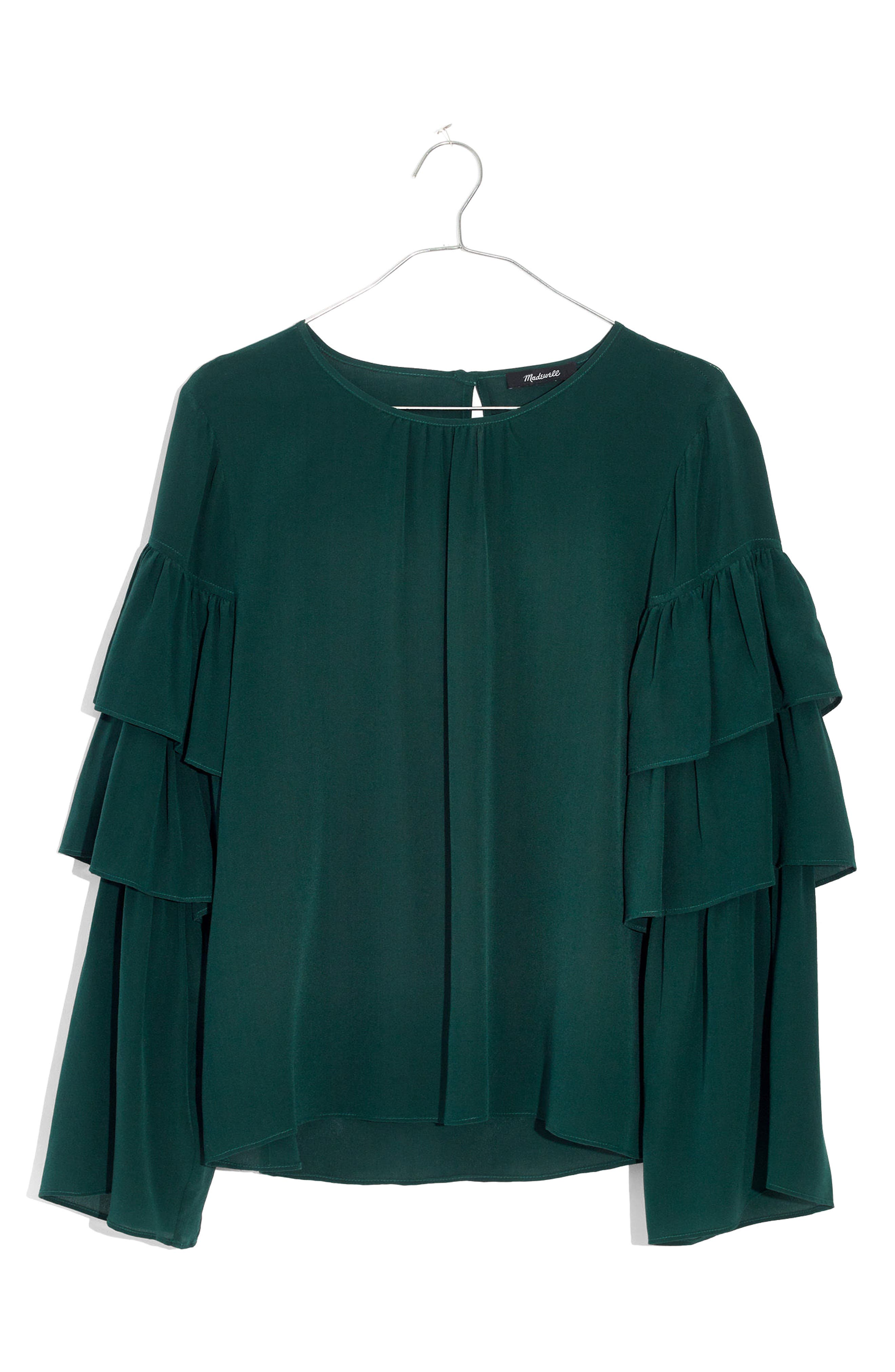 Ruffle Sleeve Silk Top,                             Alternate thumbnail 3, color,                             390