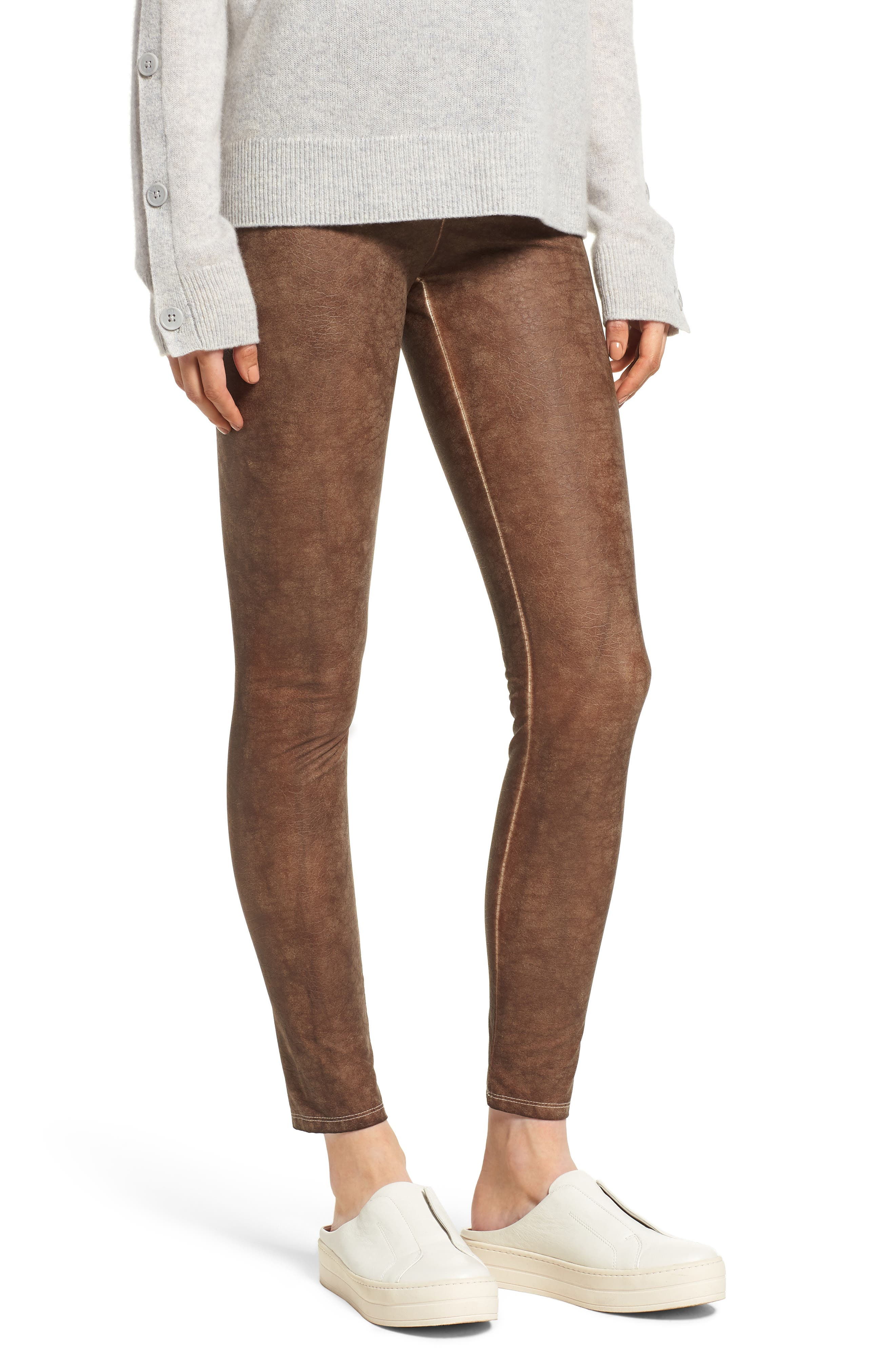 Faux Leather Leggings, Main, color, SADDLE