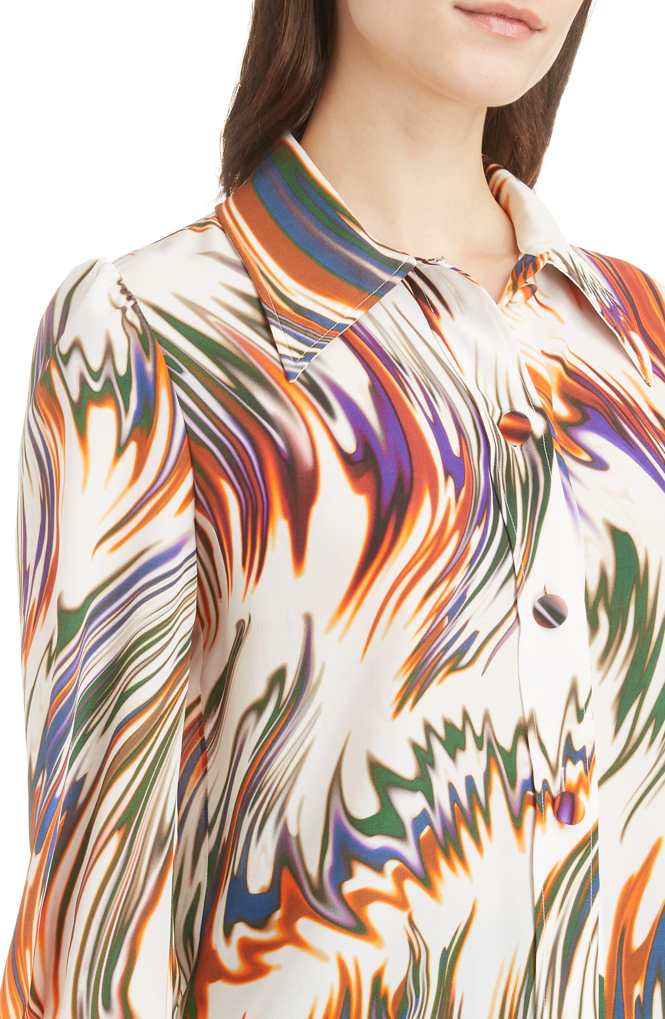 Wave Pattern Silk Blouse,                             Alternate thumbnail 4, color,                             ECRU