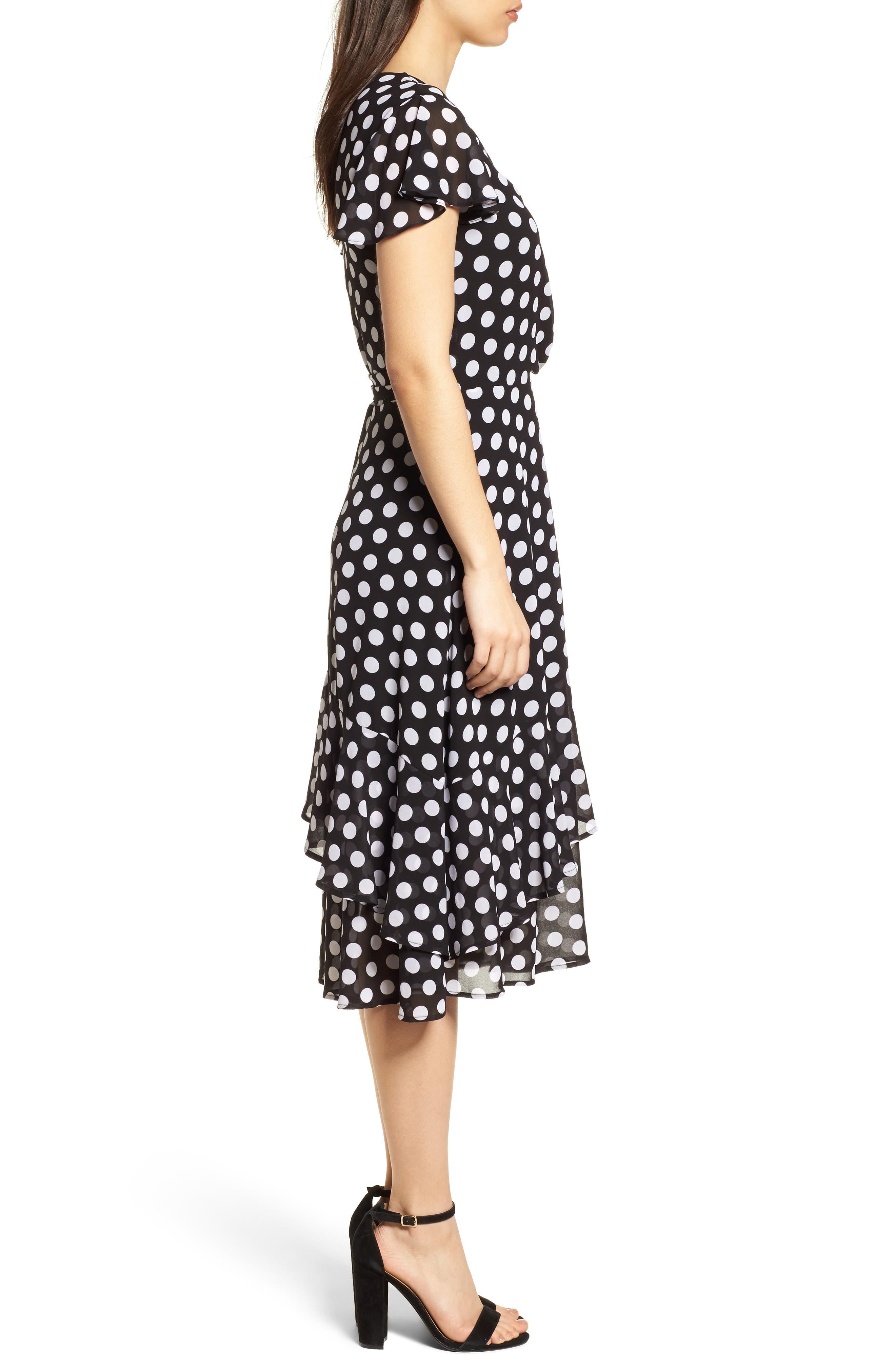 Simple Dot Wrap Dress,                             Alternate thumbnail 3, color,                             018
